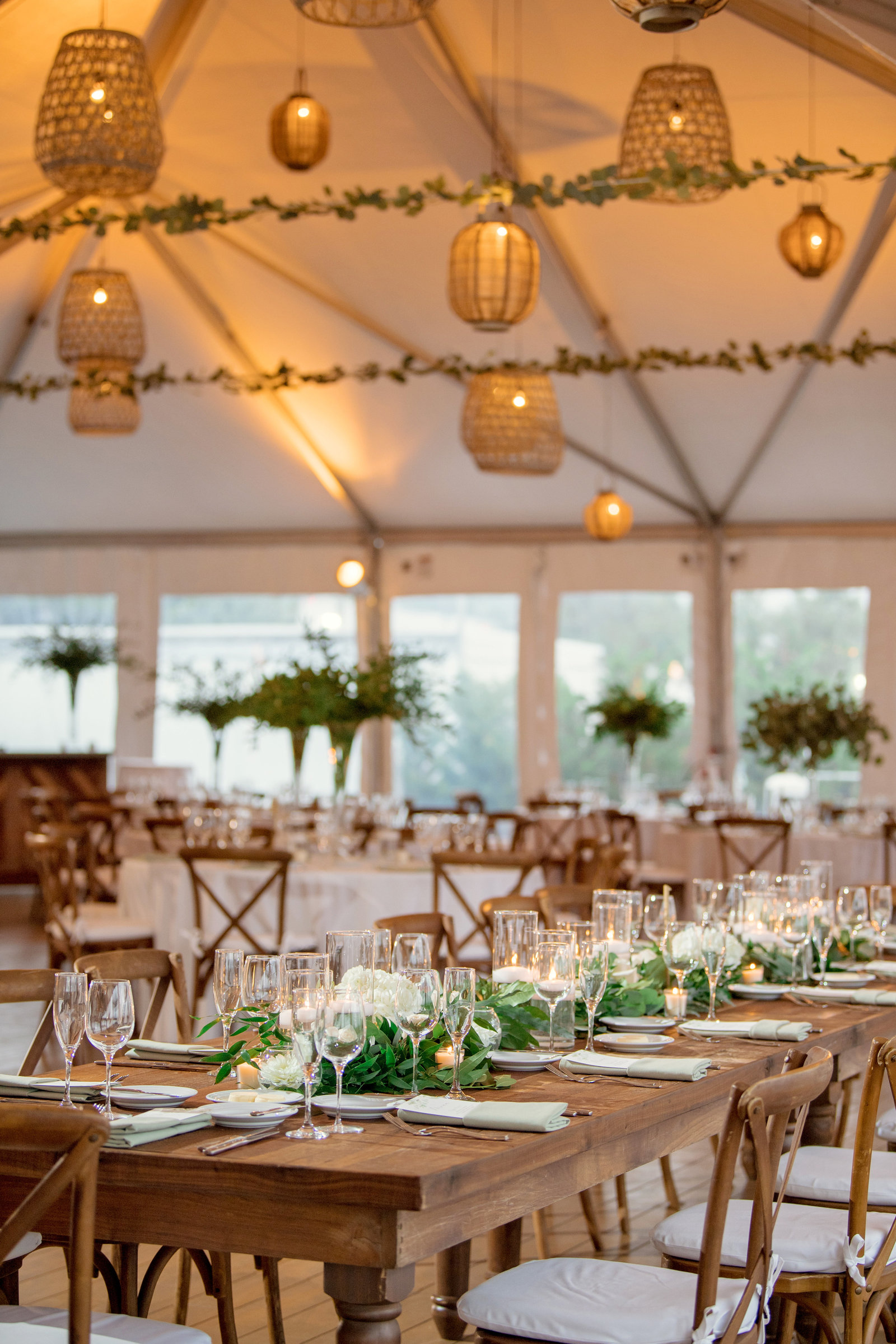 photo of table settings and reception from Gurneys Montauk Resort wedding