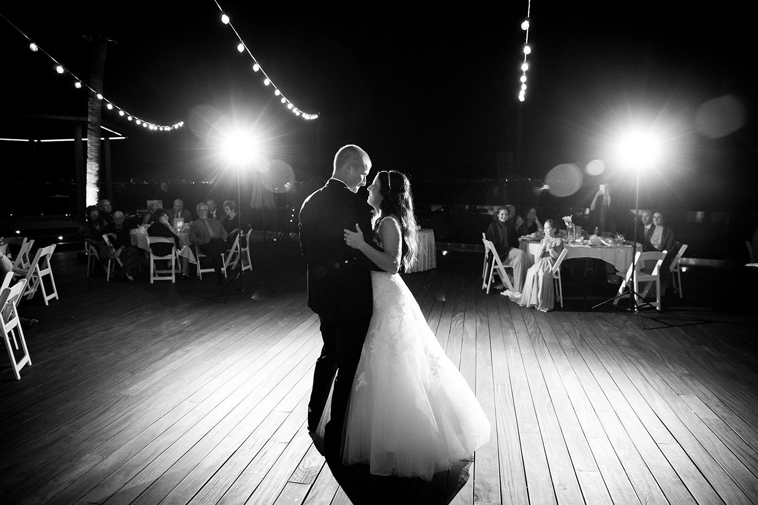 Point Loma Sub Base wedding photos first dance stunning black and white