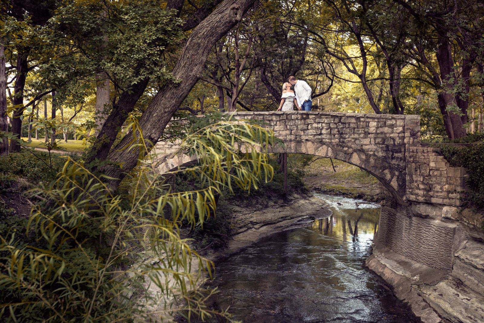 engaged couple on bride at Prather Park in Dallas Texas