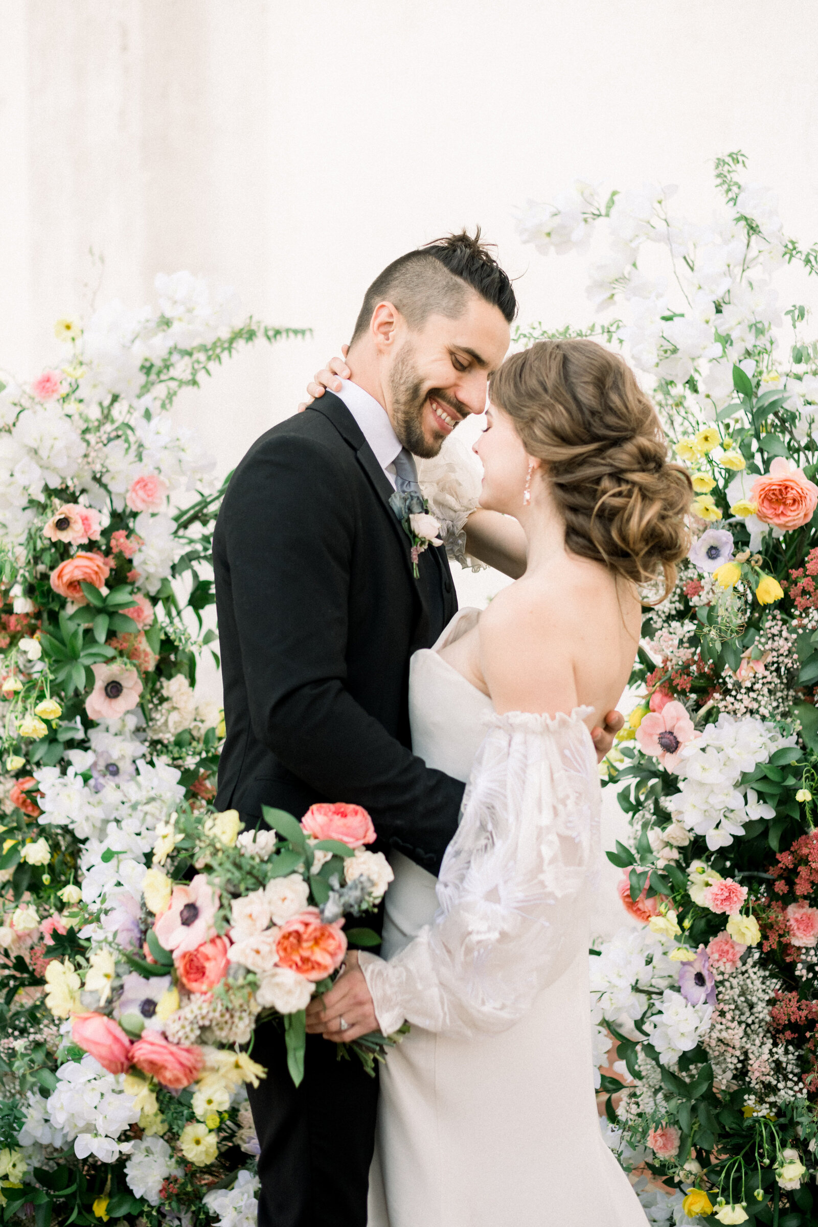 High end fine art wedding with pink dress and pops of color at the Junipero Serra Museum in San Diego by Liz Andolina Photography-50