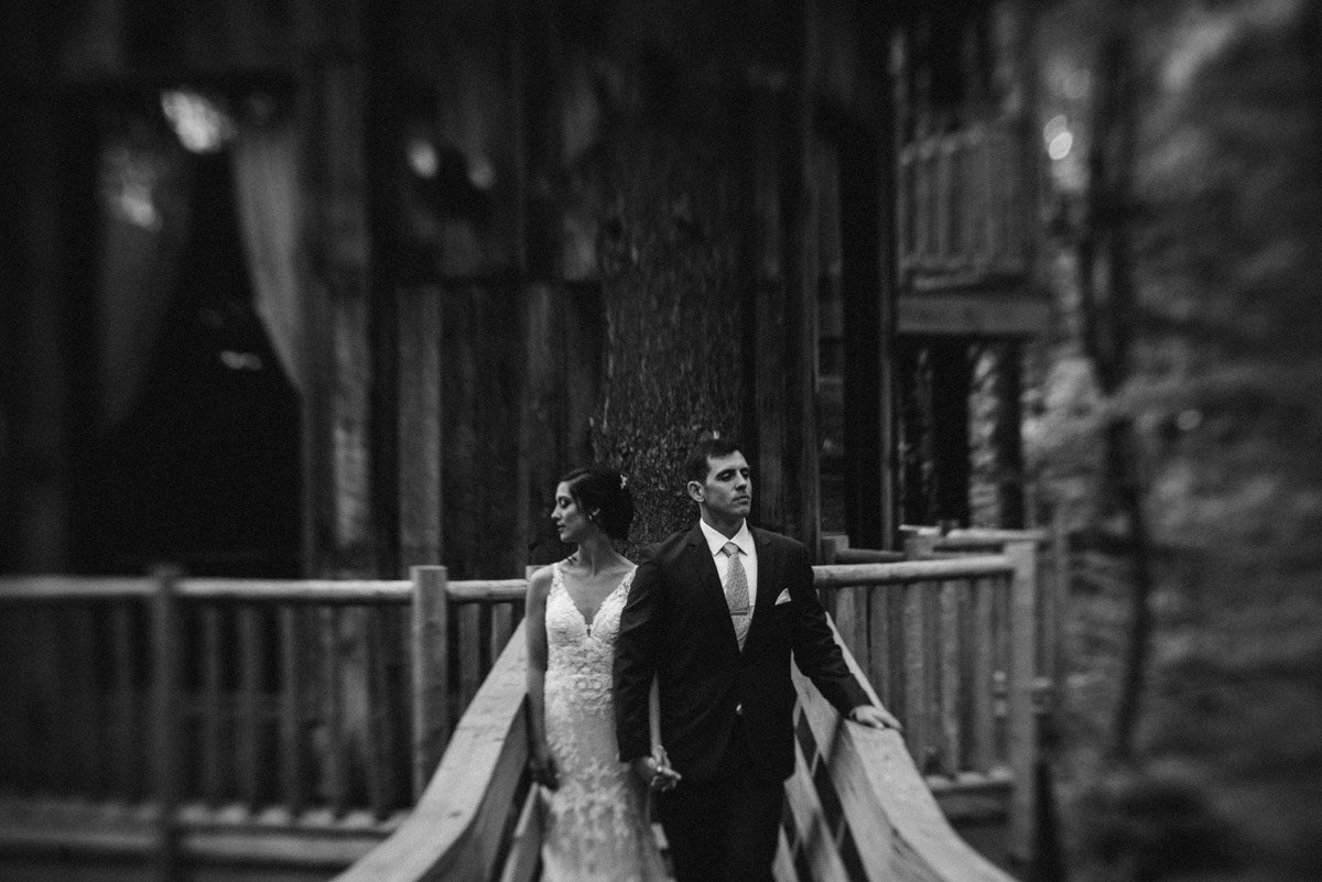 bride and groom in the treehouses at Grand Barn at the Mohican wedding venue