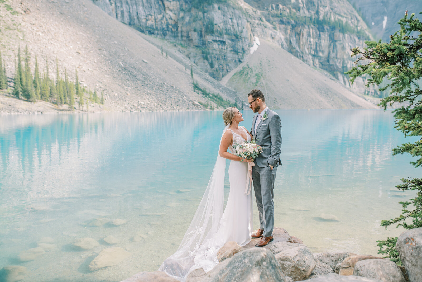 Bride and Groom and Moraine Lake