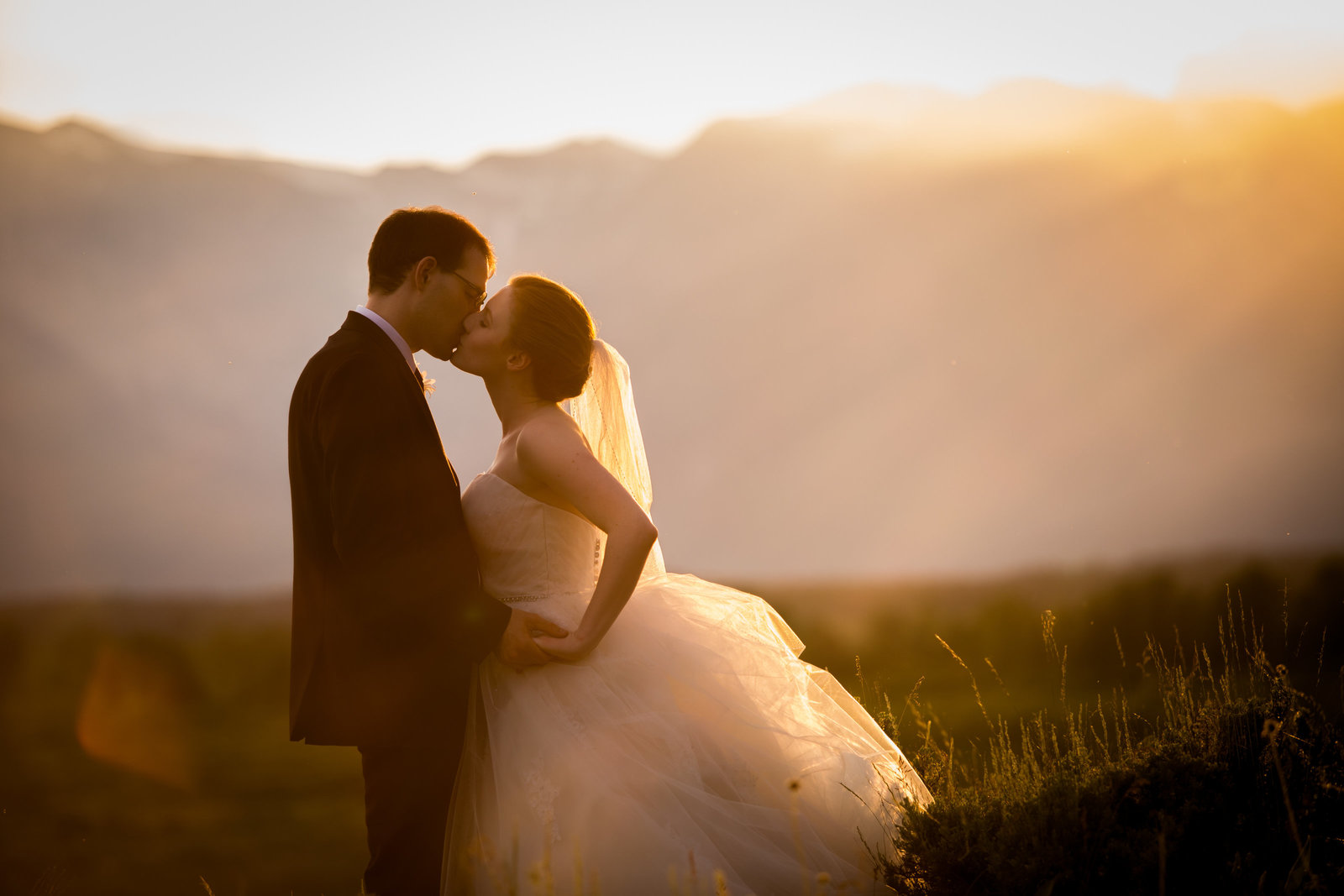 sunset wedding couple at Jackson Lake lodge