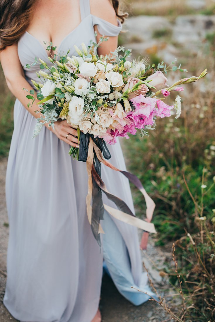 Wild elopement flower bouquet with pinks, whites, and purples