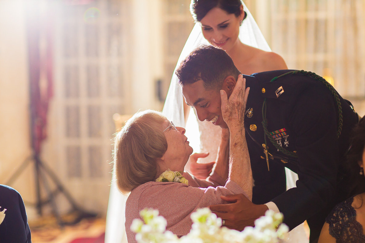 A groom and his grandmother at an annapolis wedding in June