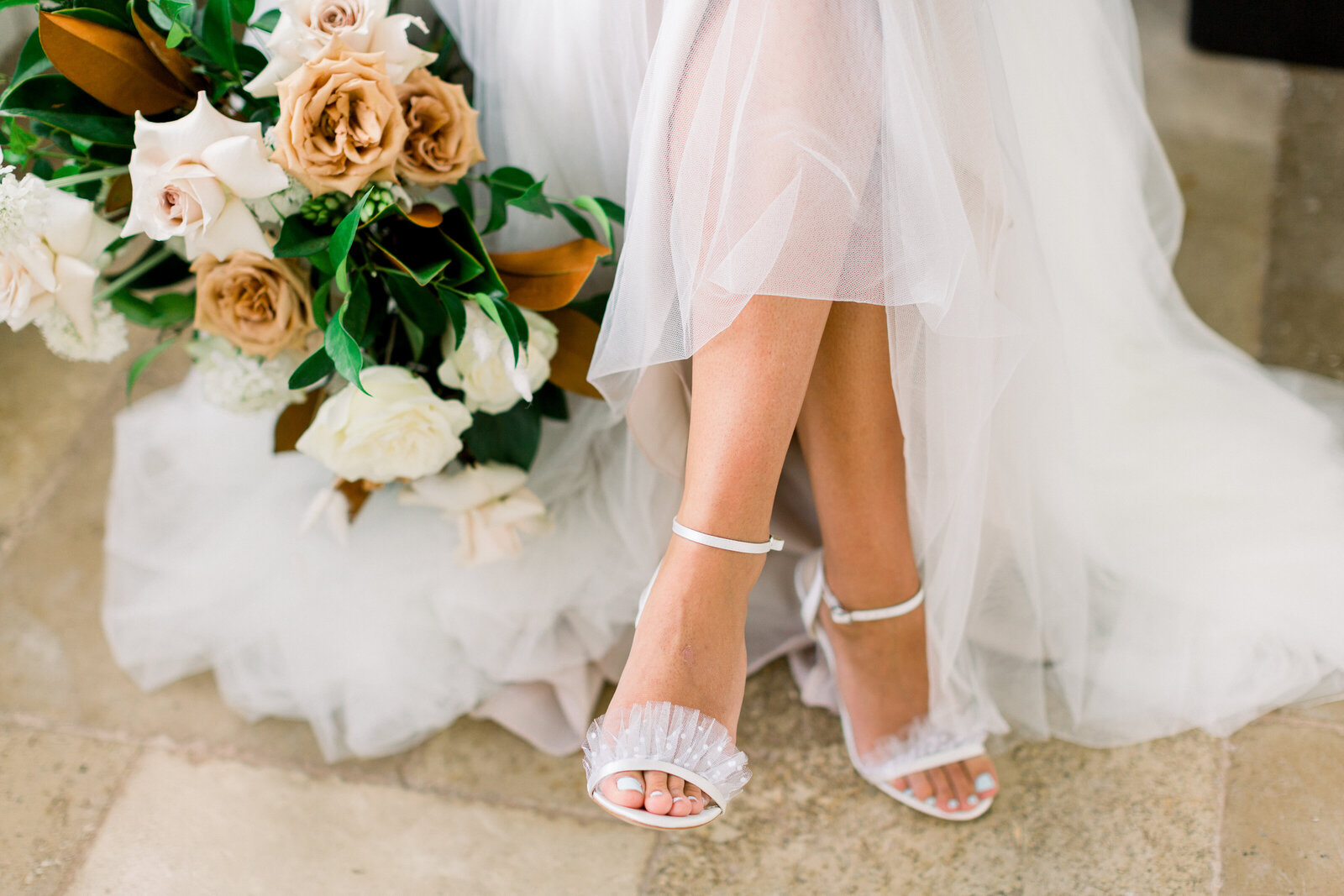 bella belle shoes with toffee bouquet