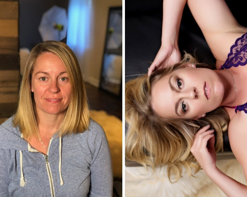 Blonde woman  in a before and after hair & makeup photo