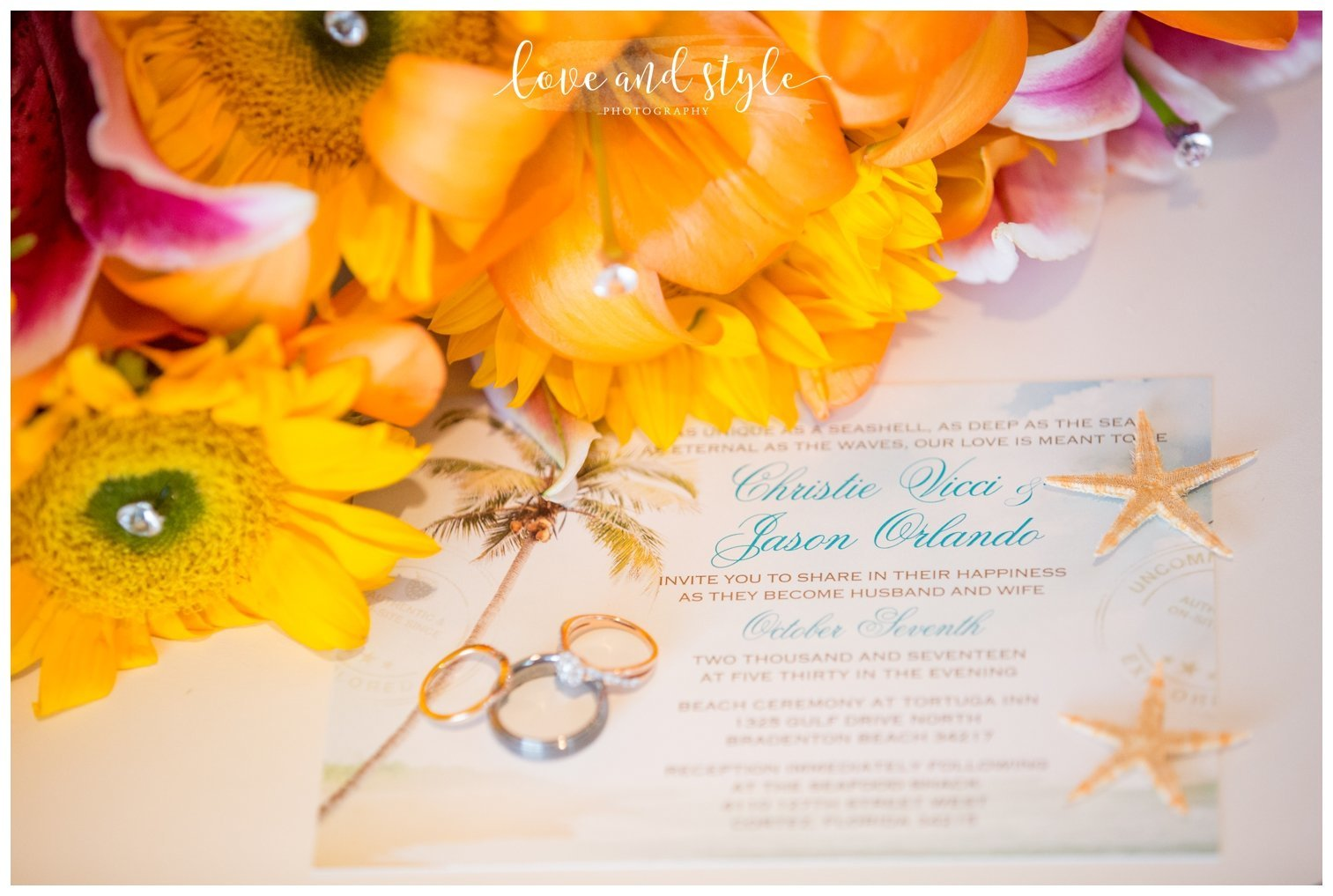 Anna Maria Island Wedding Photography, detail shot of brides bouquet with the wedding rings and invitation
