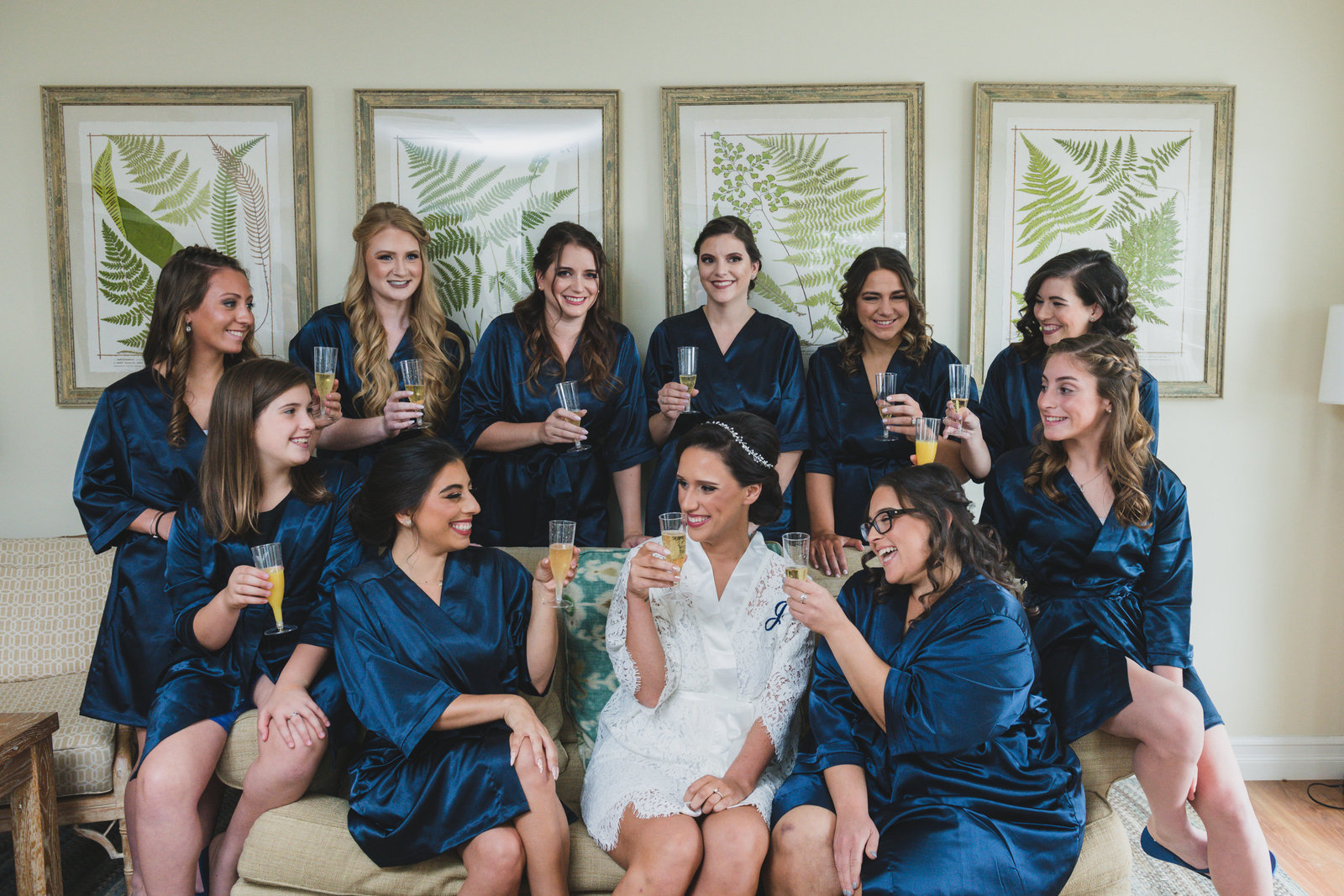 photo of bridesmaids with bride for wedding at Three Village Inn