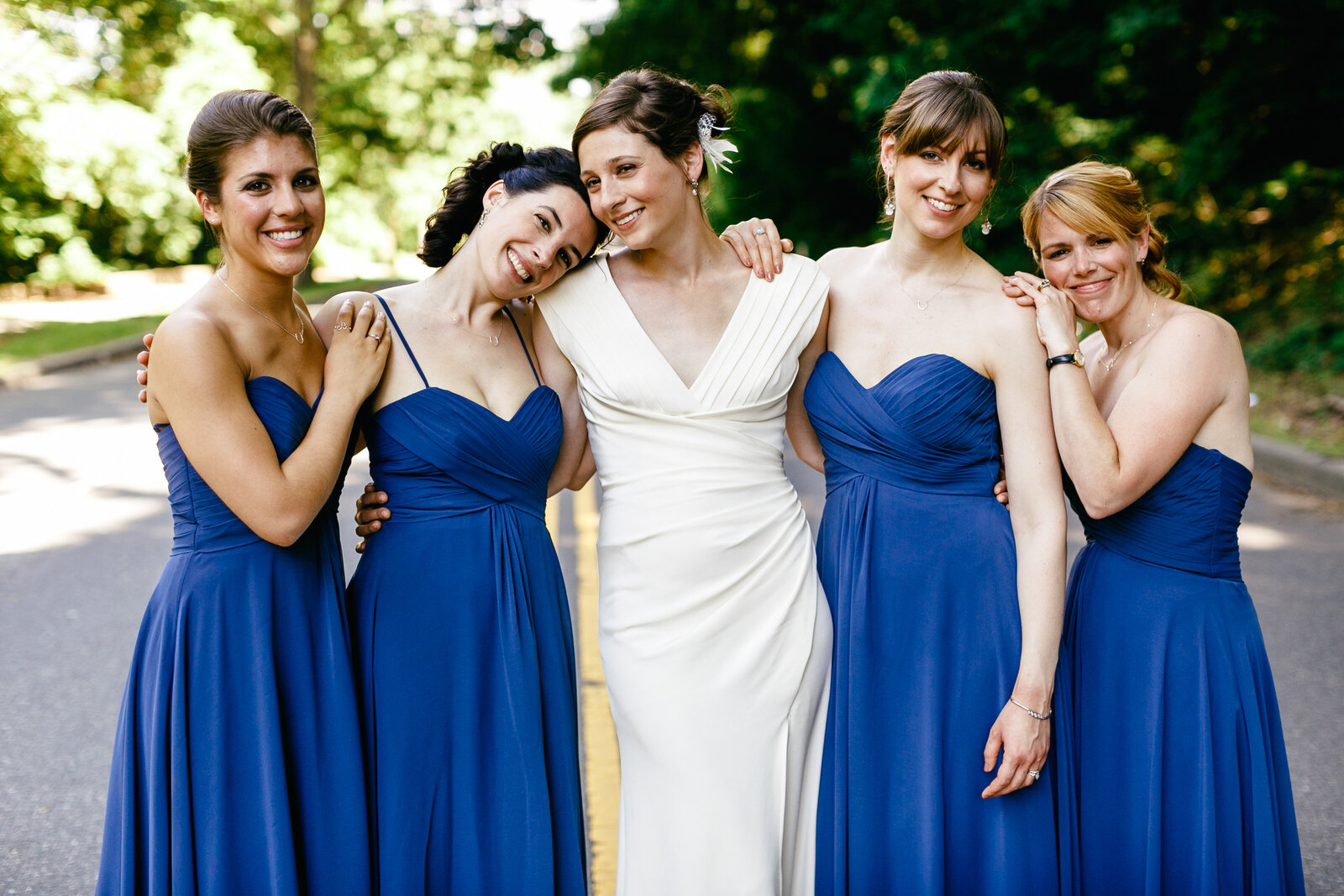 bridesmaids blue dresses city