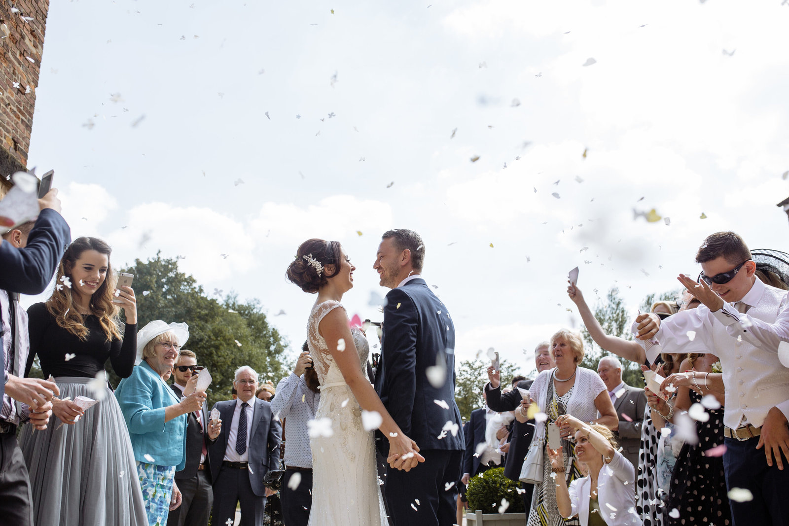Confetti shot. West Mill Wedding Photographer, Derbyshire