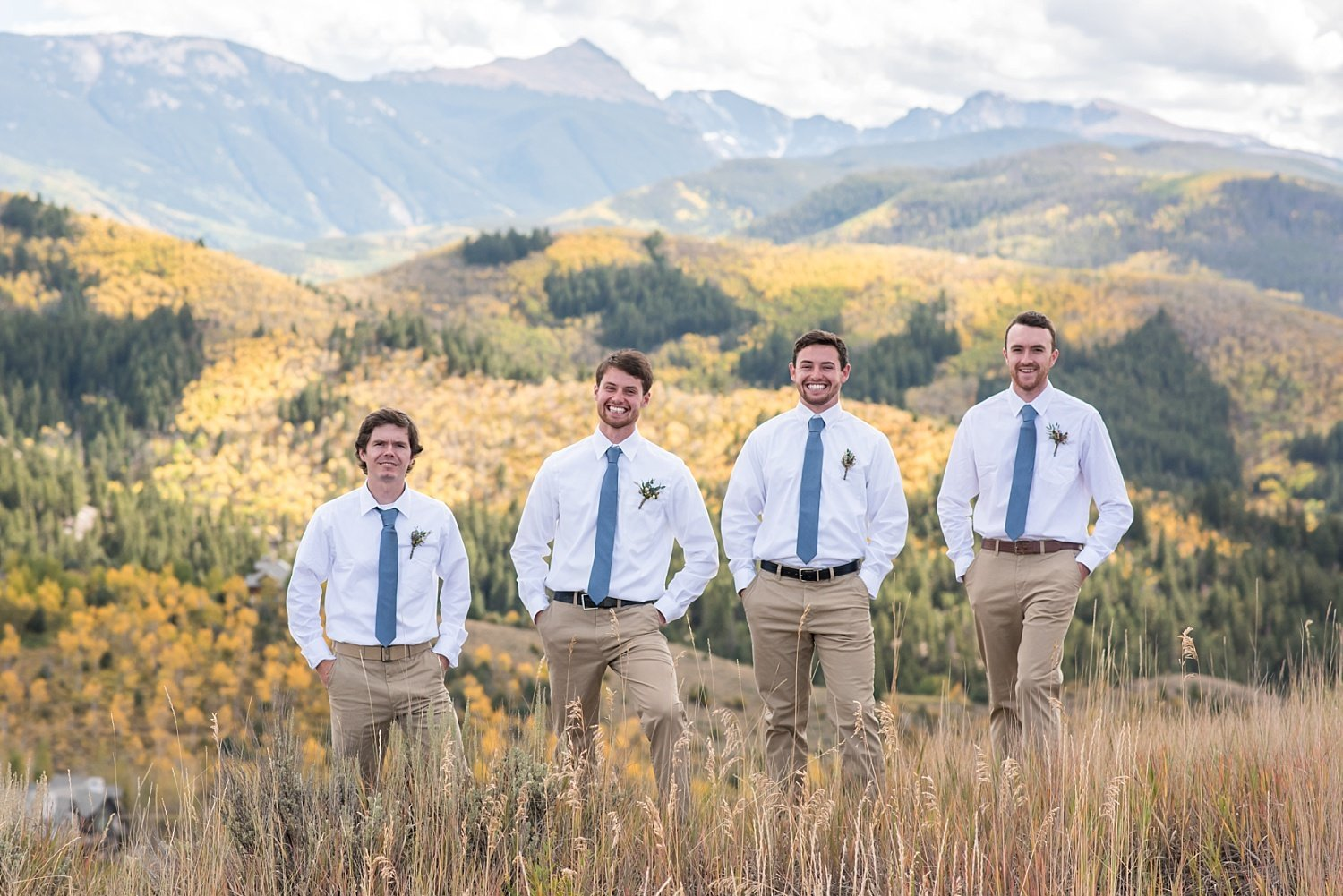 fall wedding in Colorado - groomsmen in the mountains