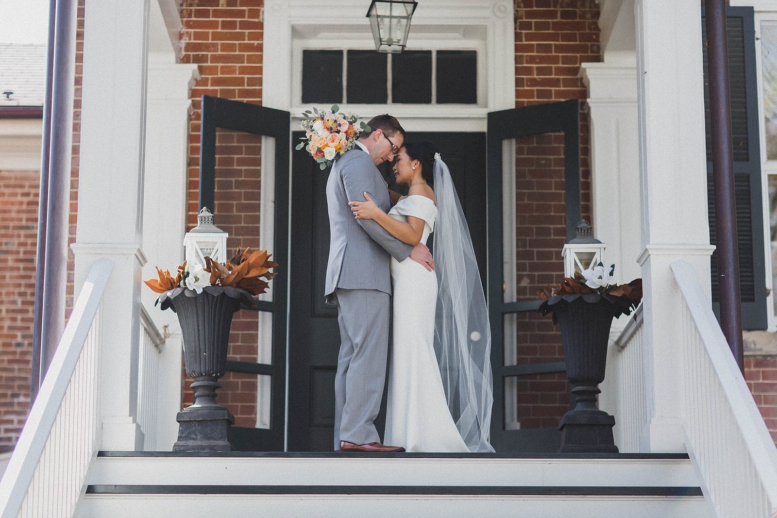M Harris Studios_Braehead Manor_VA Wedding Photographer_bride groom portrait on stairs