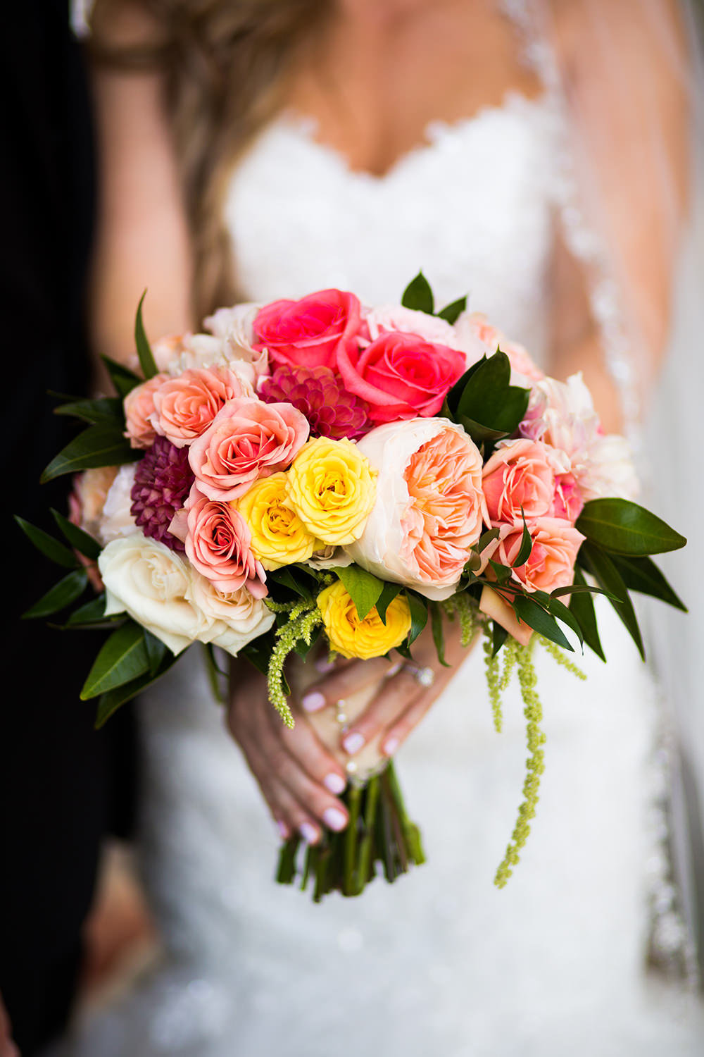 bride bouquet with pink and blush flowers