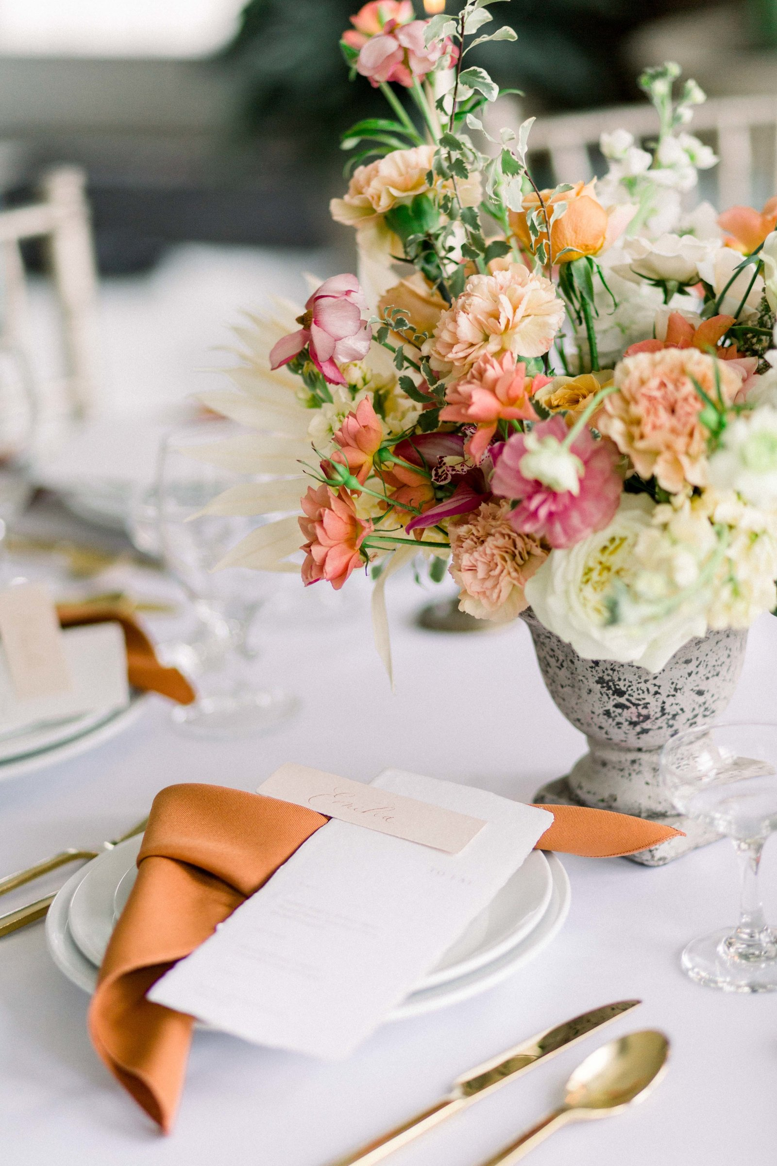 wedding centerpiece flowers orange pink