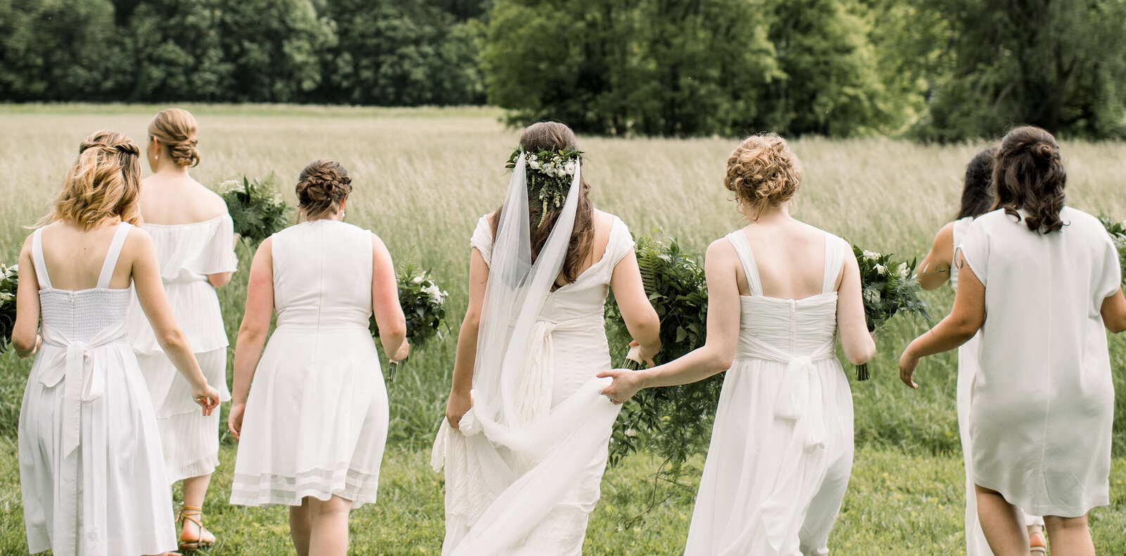 bridesmaids all in white at springton manor farm
