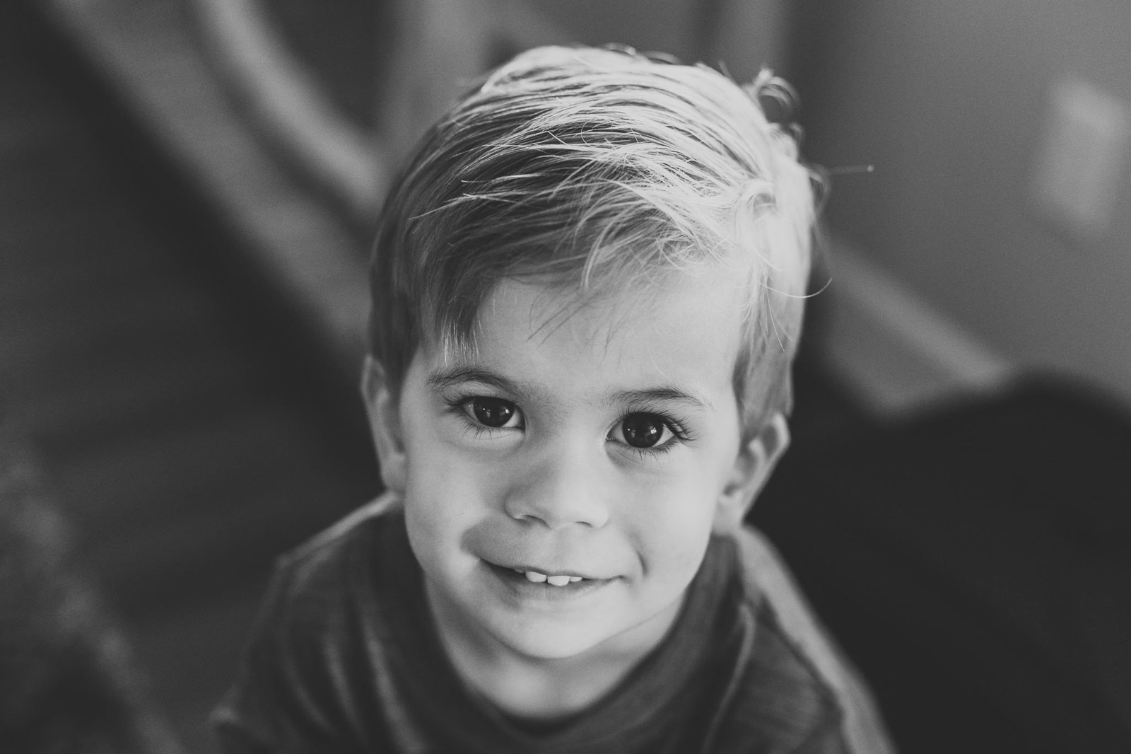 Oahu, Hawaii Lifestyle Photographer - Lifestyle Photography - Brooke Flanagan Photography - Little boy close up in black and white