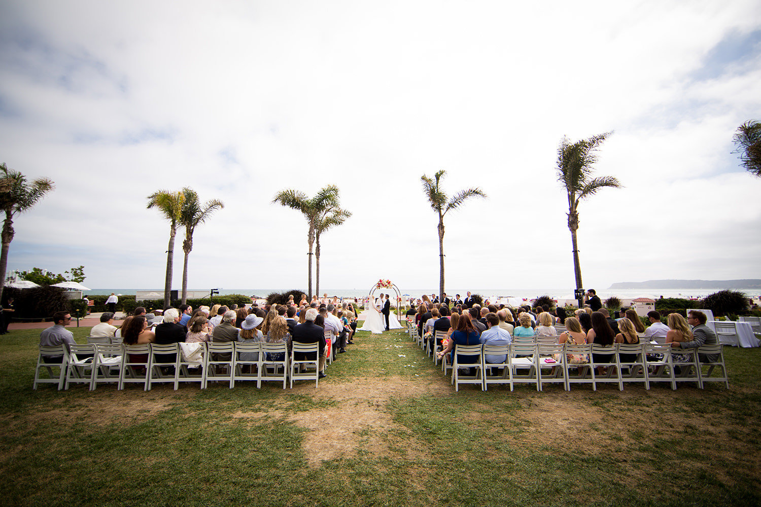 Outdoor wedding ceremony in Coronado California