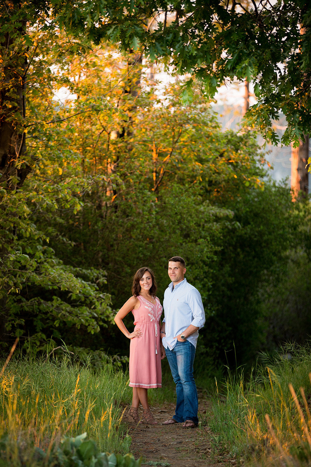 Palomar Mountain engagement photos rustic field