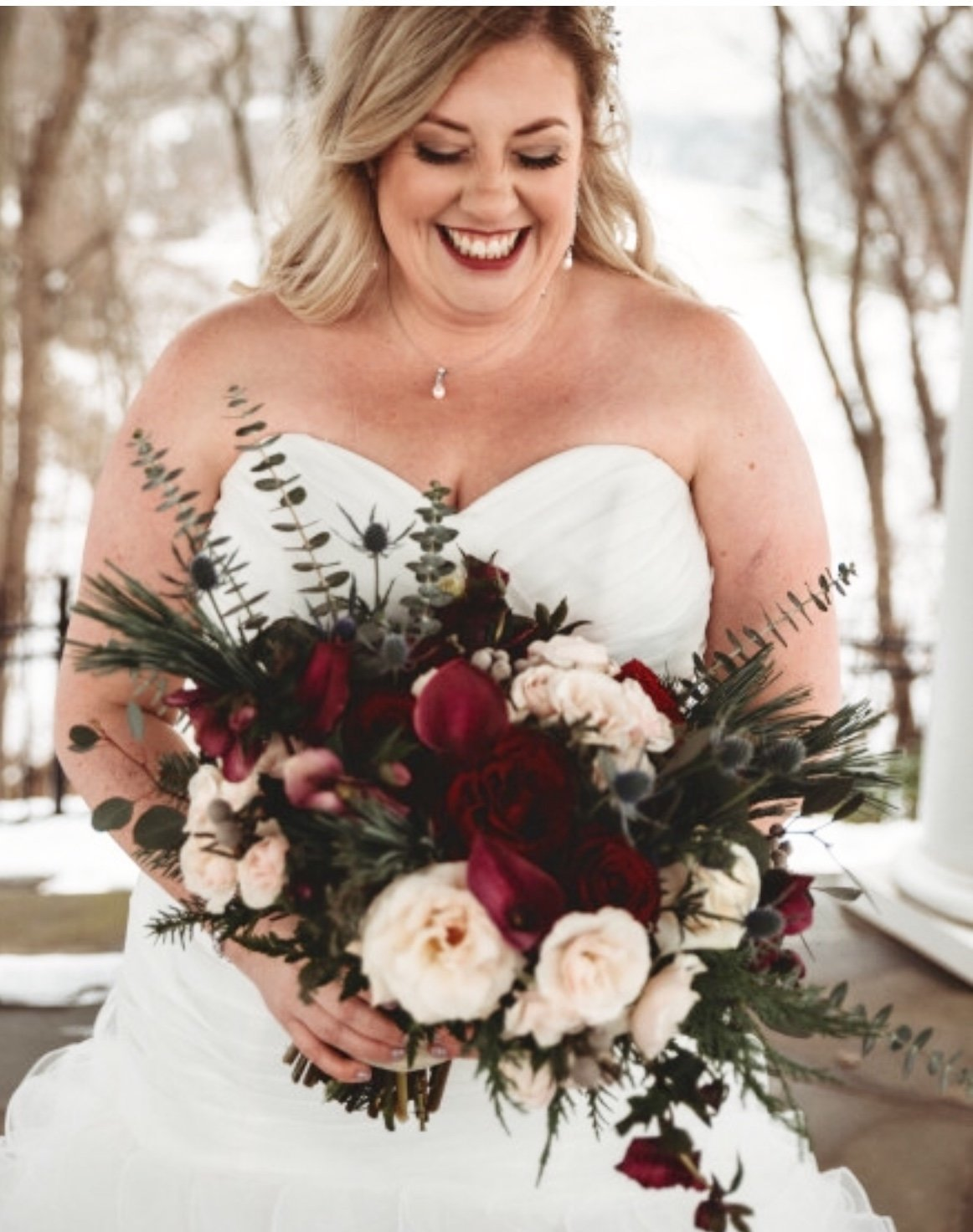 burgundy and blush bridal bouquet with deep red peonies