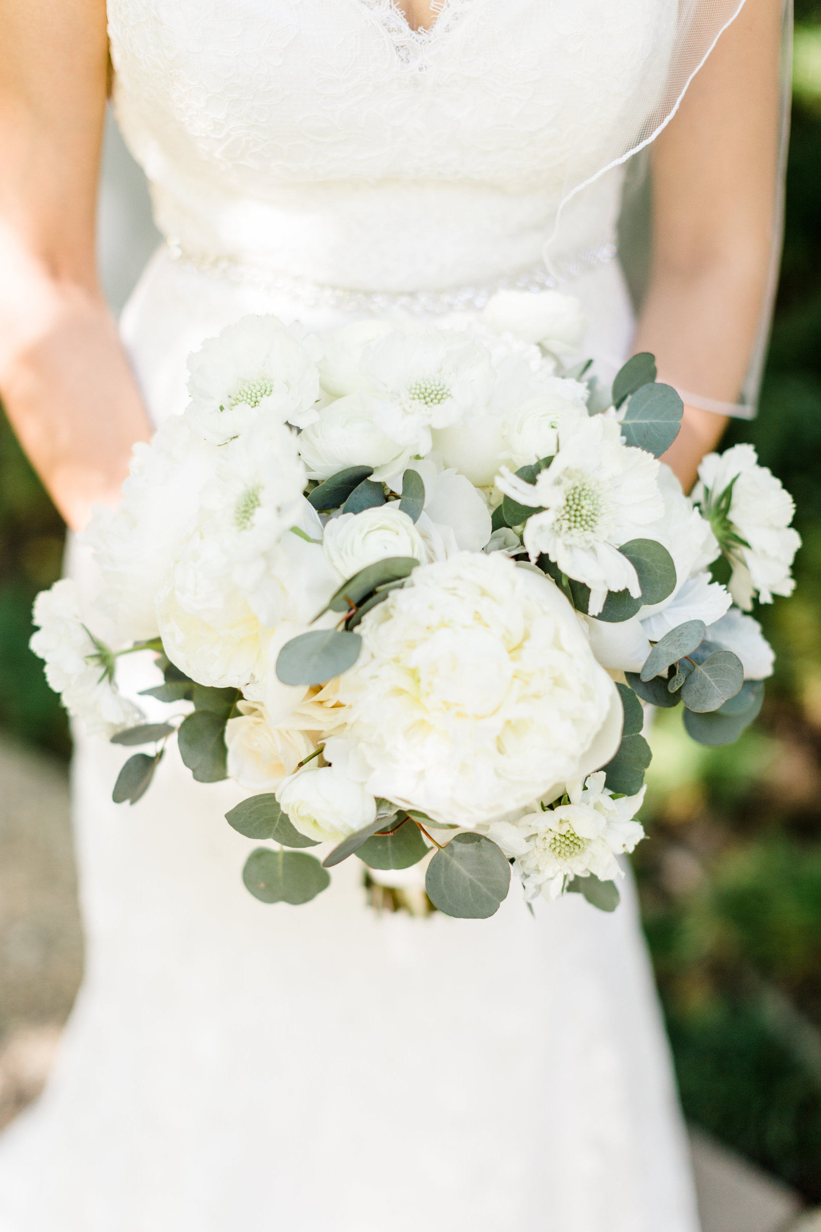 White Peony Bridal Bouquet with Eucalyptus