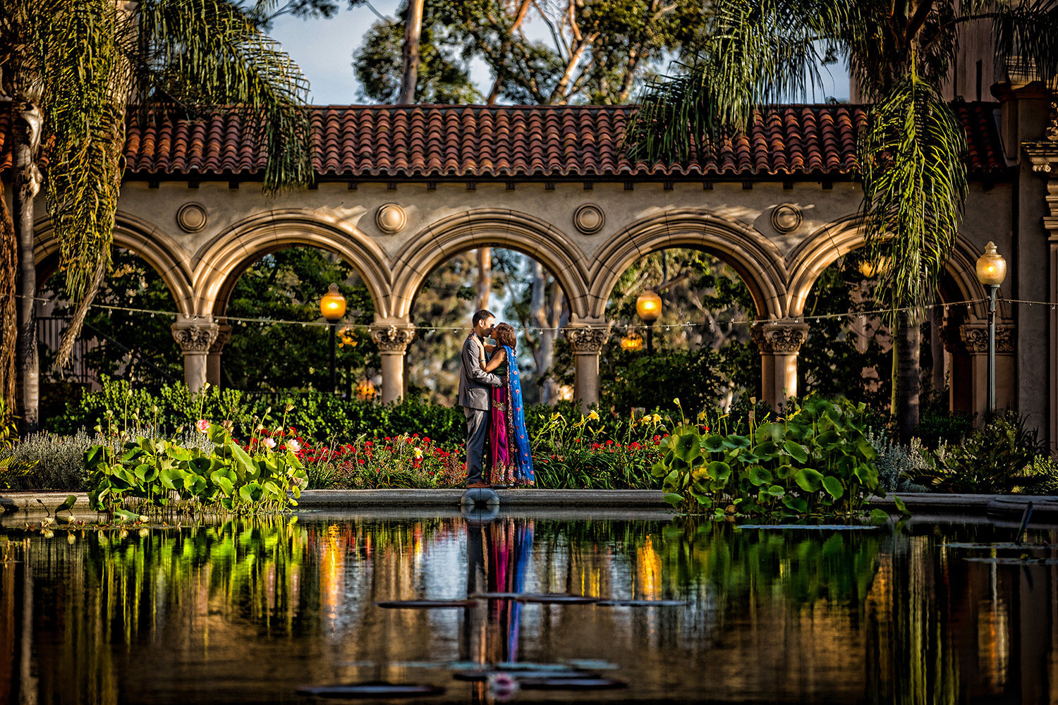 Dramatic portrait of Indian bride and groom at Balboa Park in San Diego