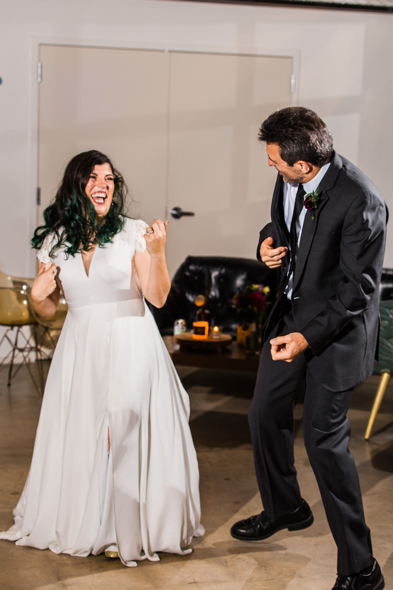 Fun father daughter dance at Wild Carrot wedding reception in St. Louis