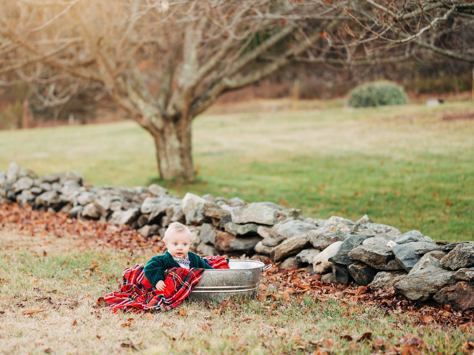 Baby in green sweater sits in a silver metal tub with red plaid blanket, looking up. A rock wall and fall leaves are behind him