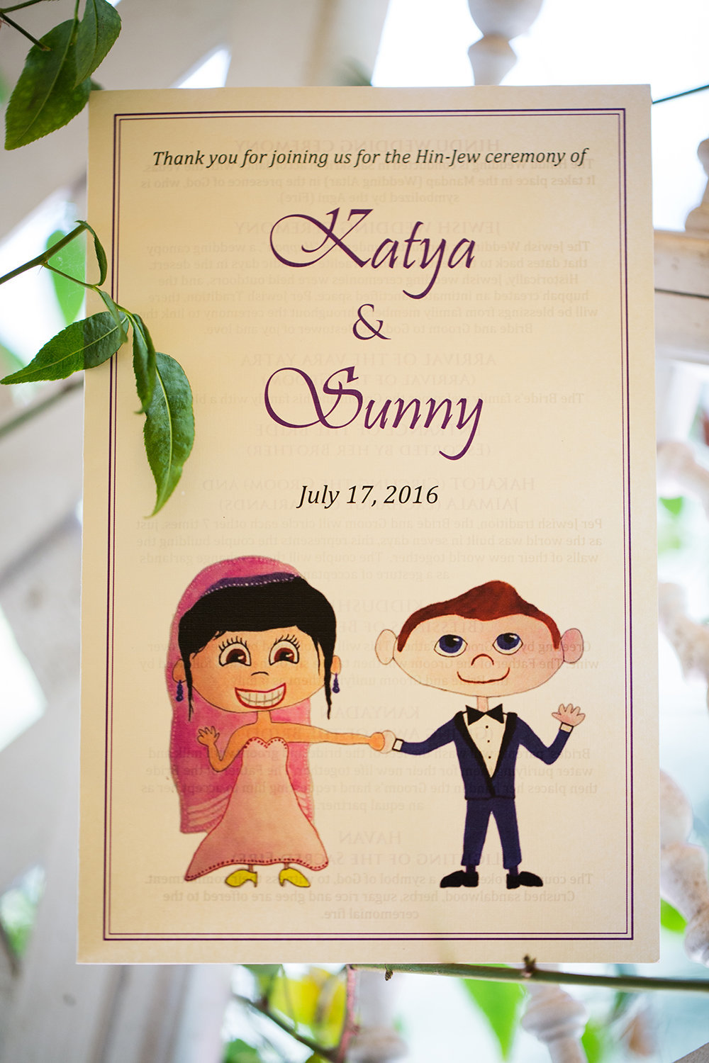 Cute wedding program for a Hindu wedding ceremony