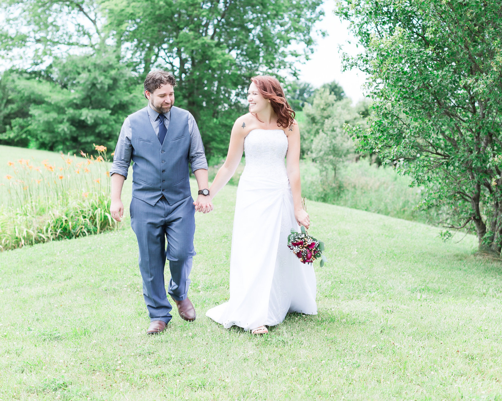 Bride and groom in beautiful backyard wedding