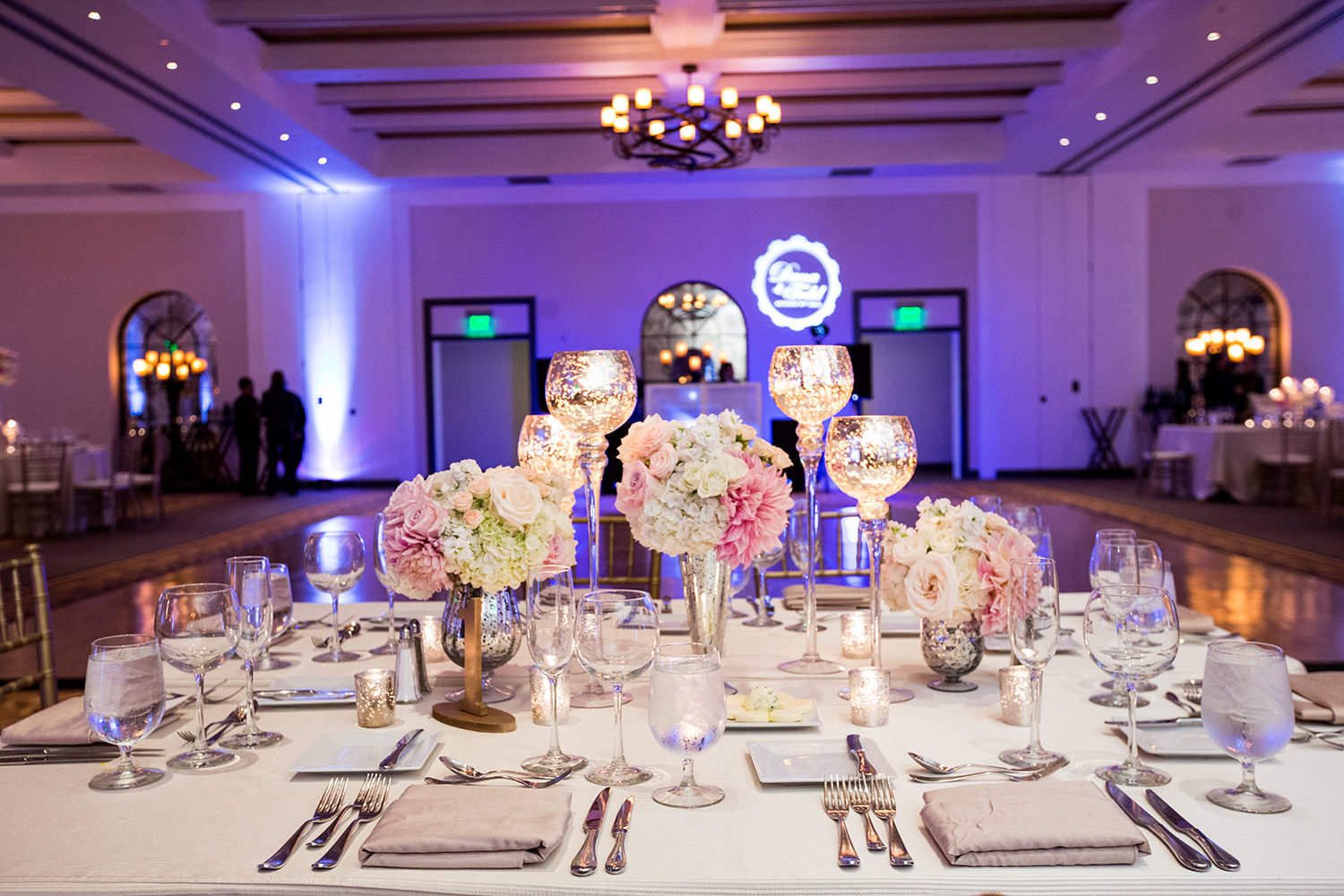 Ornate head table decor at an Estancia reception