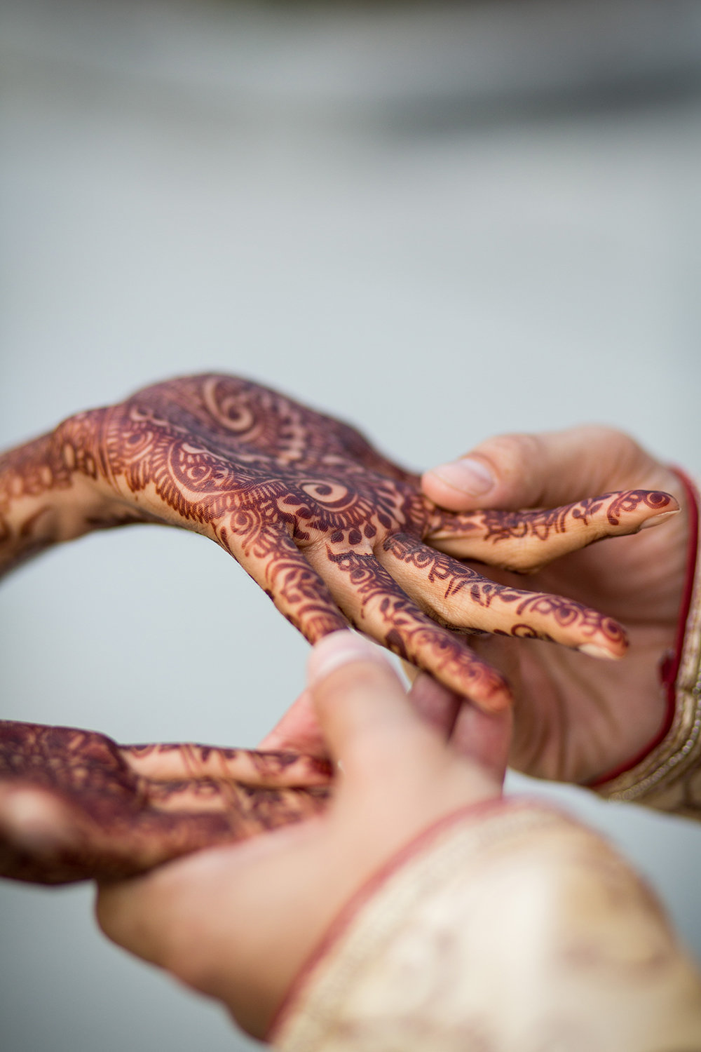 Henna Details on Hindu Bride's Hands in San Diego