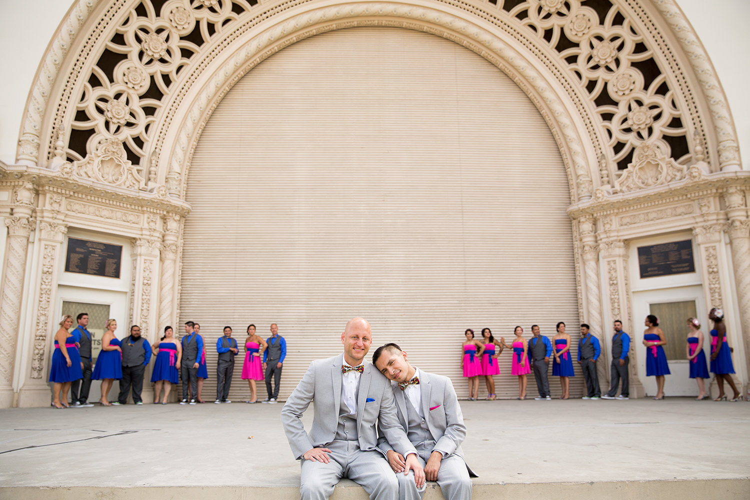 Bright Colored Wedding Party at Superhero Themed Wedding at Balboa Park