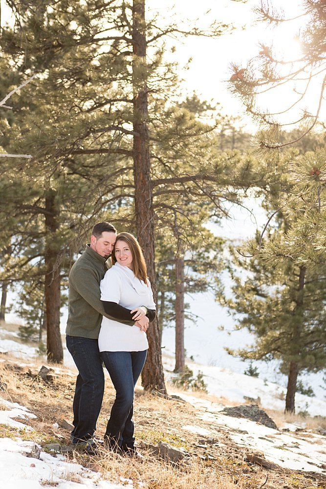 winter engagement photos in Golden, CO
