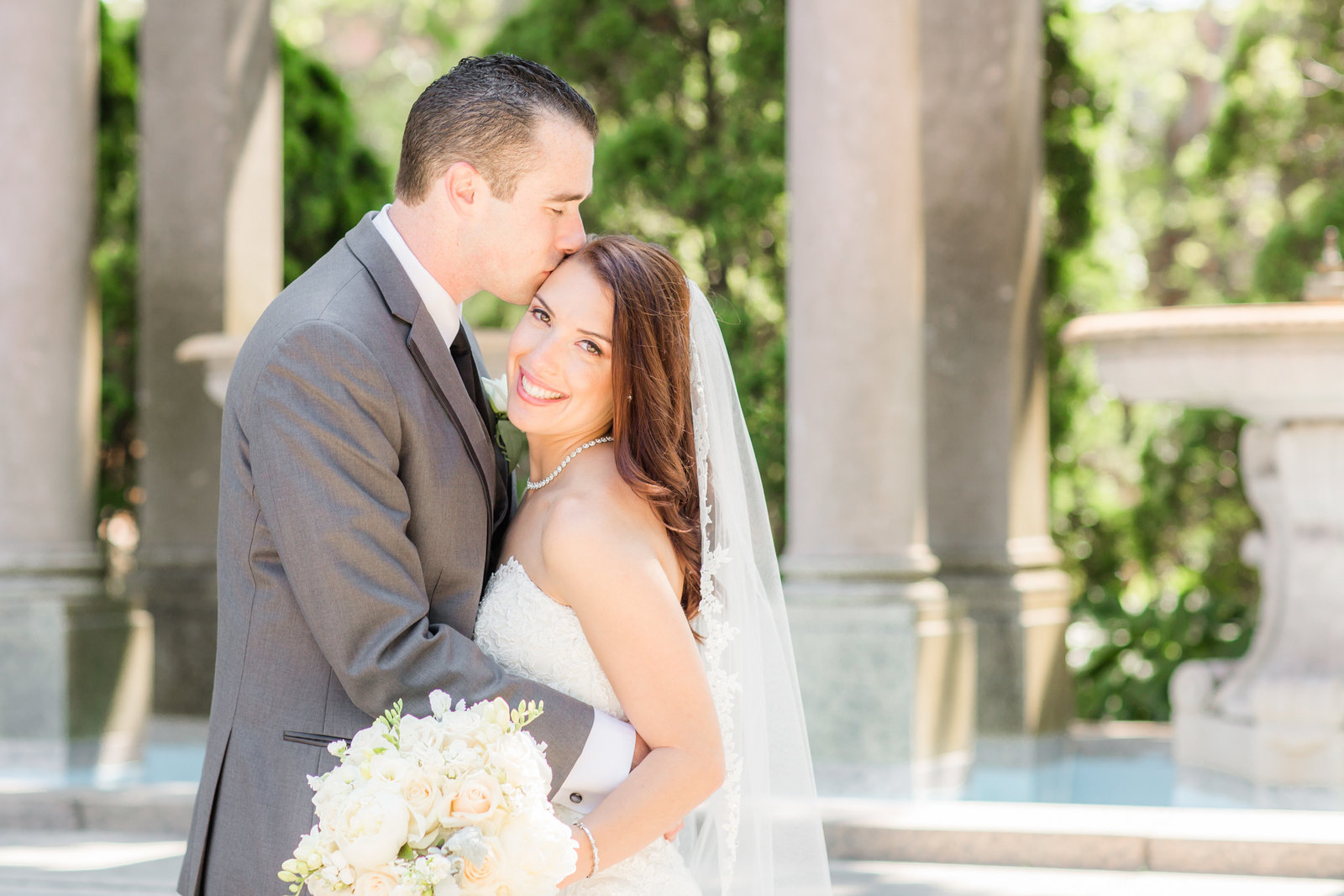 Bride and groom portrait at Monmouth University