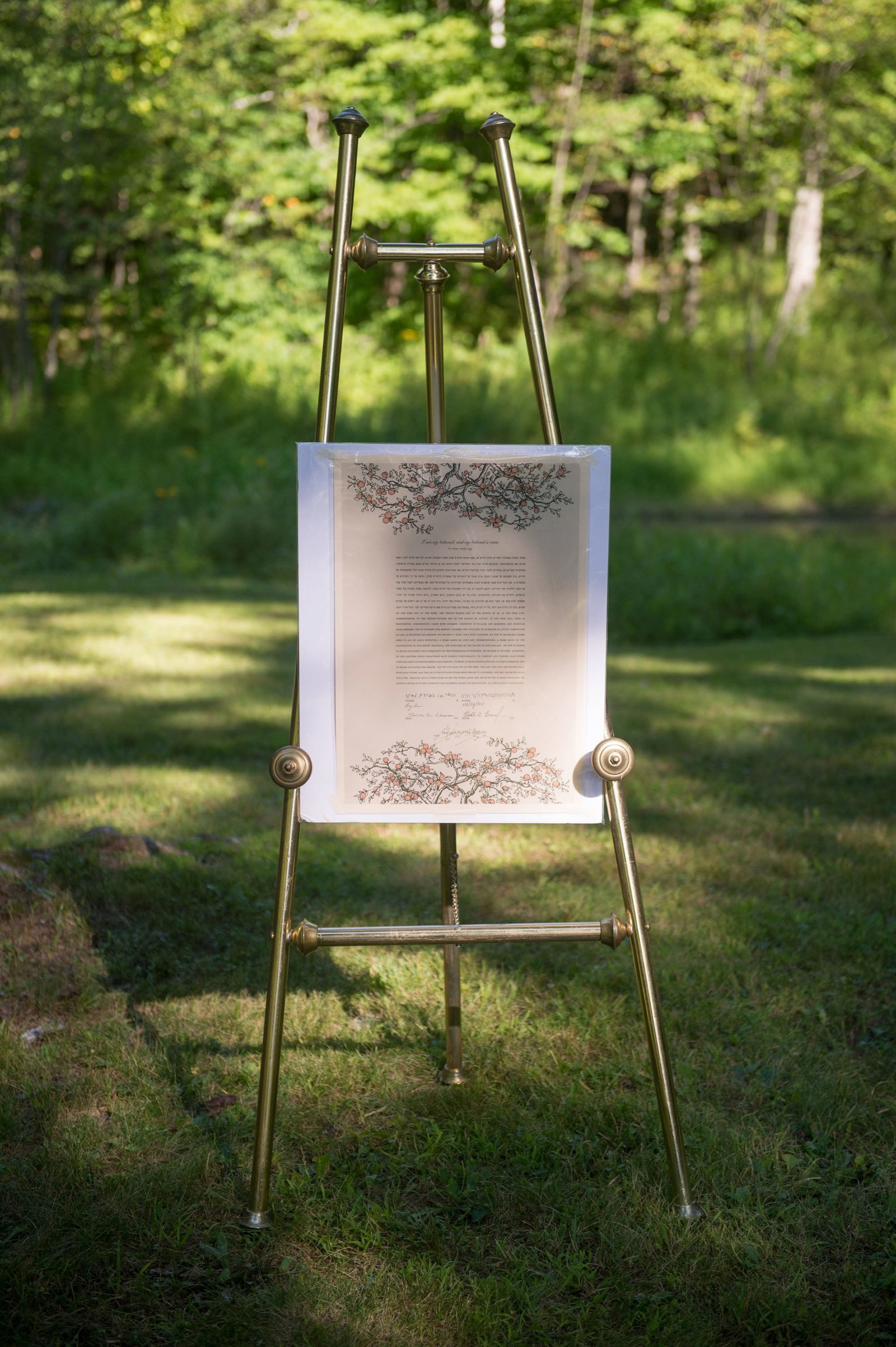 Wedding ceremony ketubah for home wedding in Washington, CT