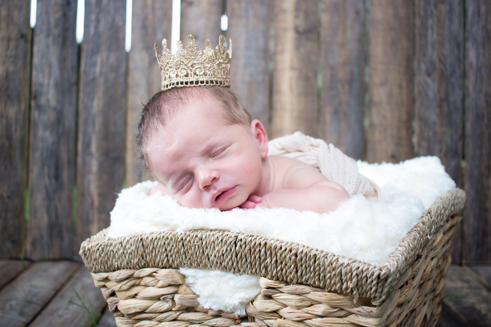 newborn baby boy with crown on in a basket