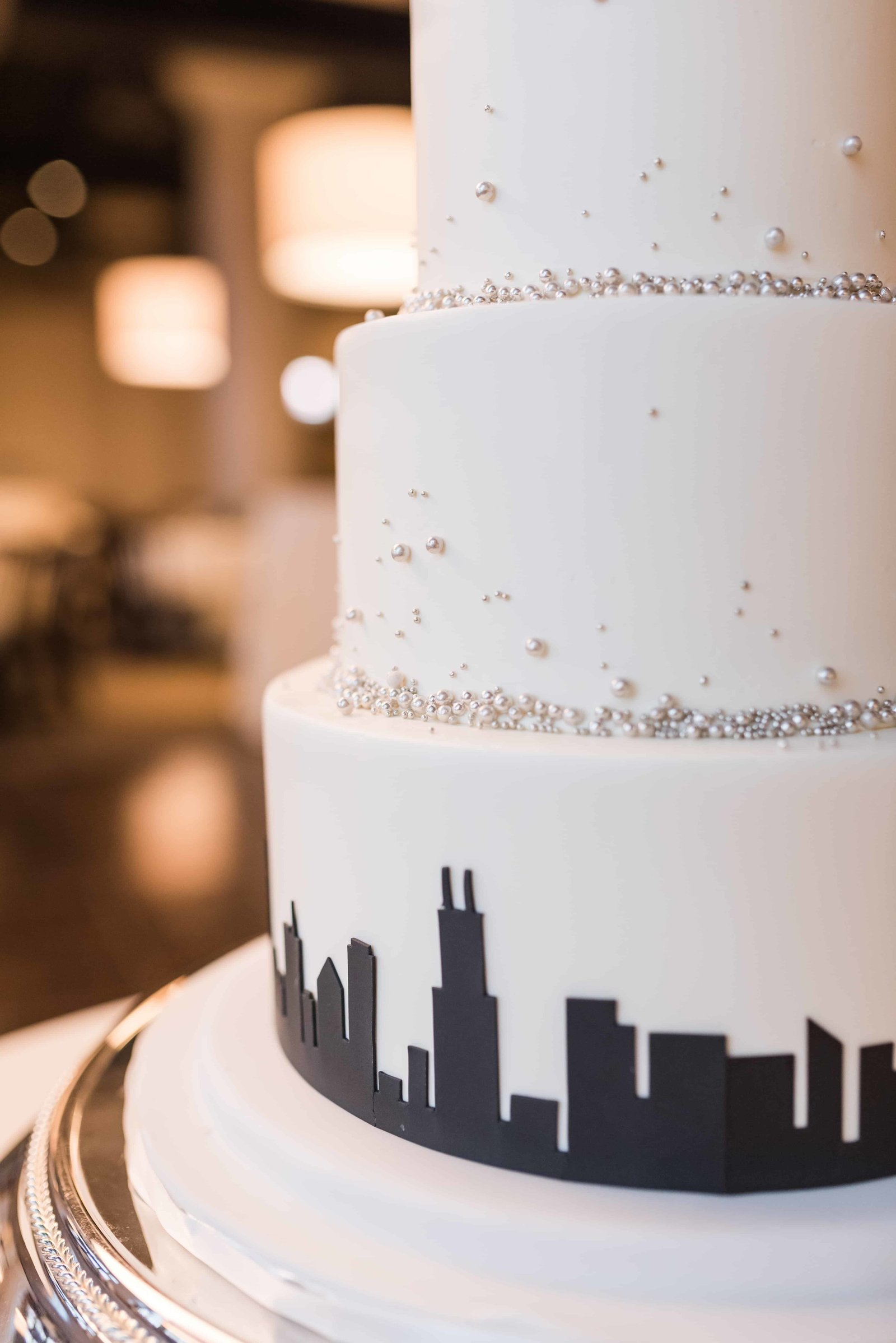 Chicago Design wedding cake.