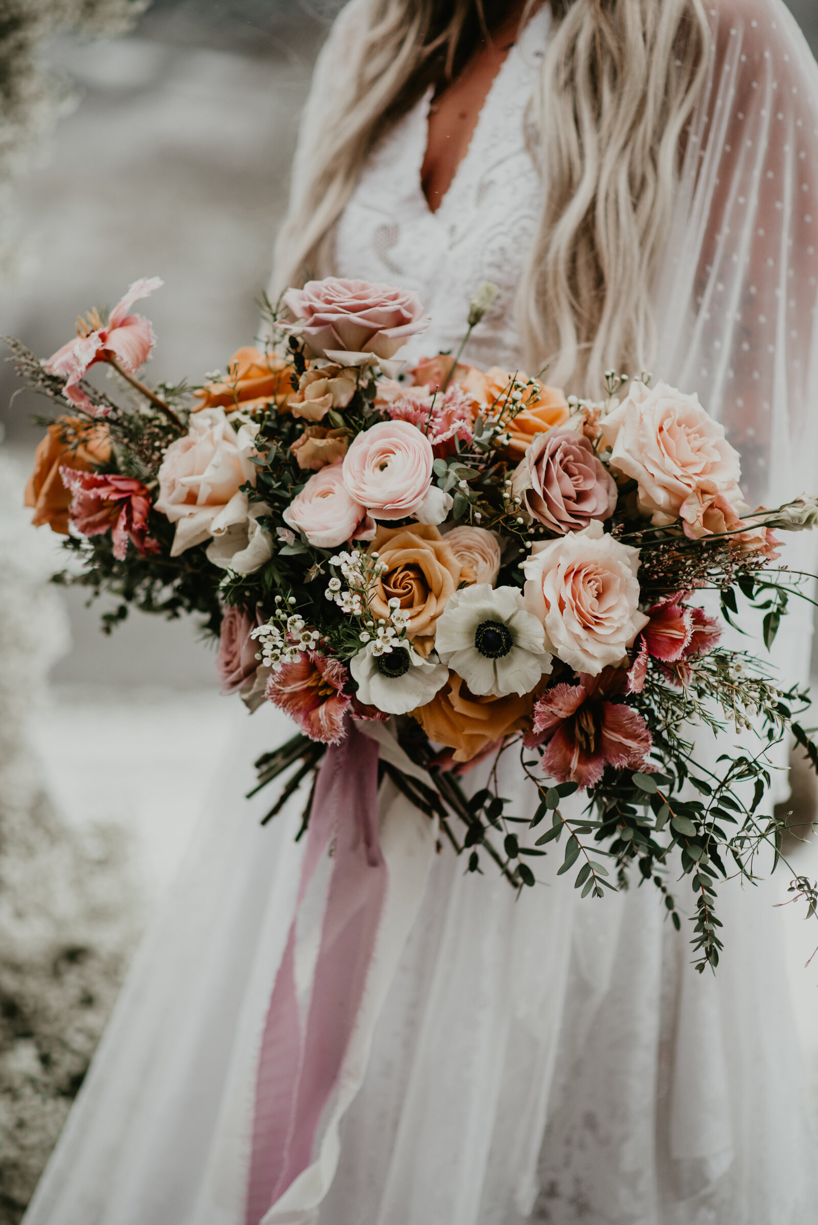 Beautiful bridal bouquet at boho styled elopement at The Ridge in Asheville NC