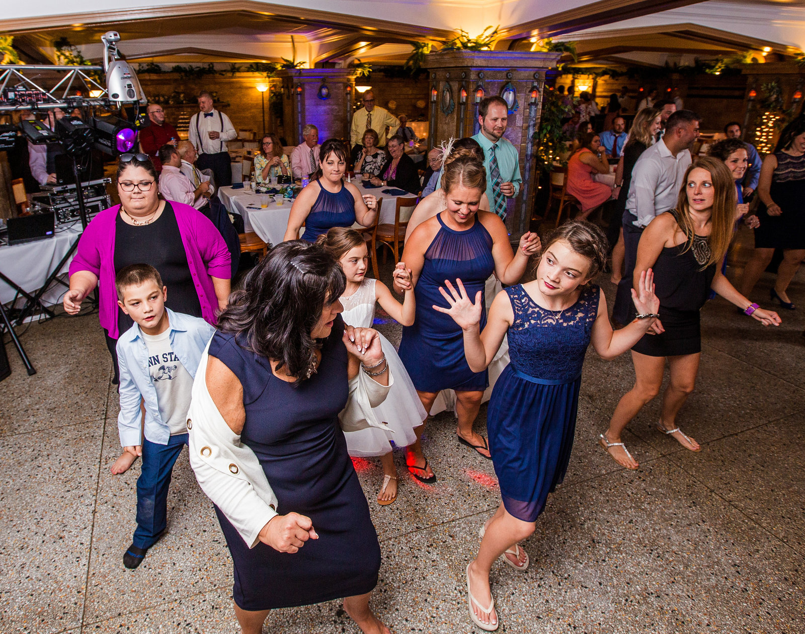 Guests dance at Masonic Temple wedding reception