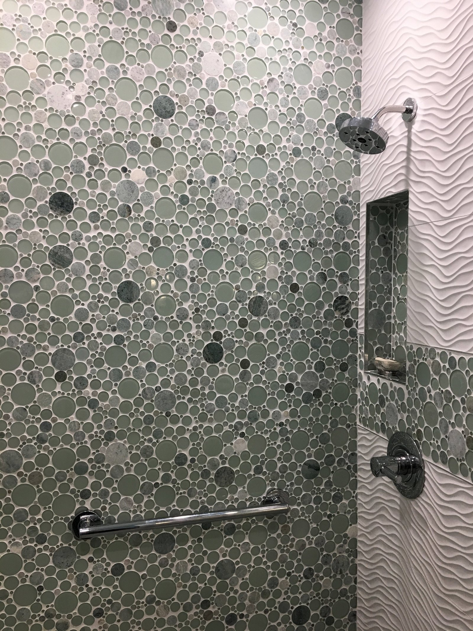 Glass Mosaic Tile Shower Surround