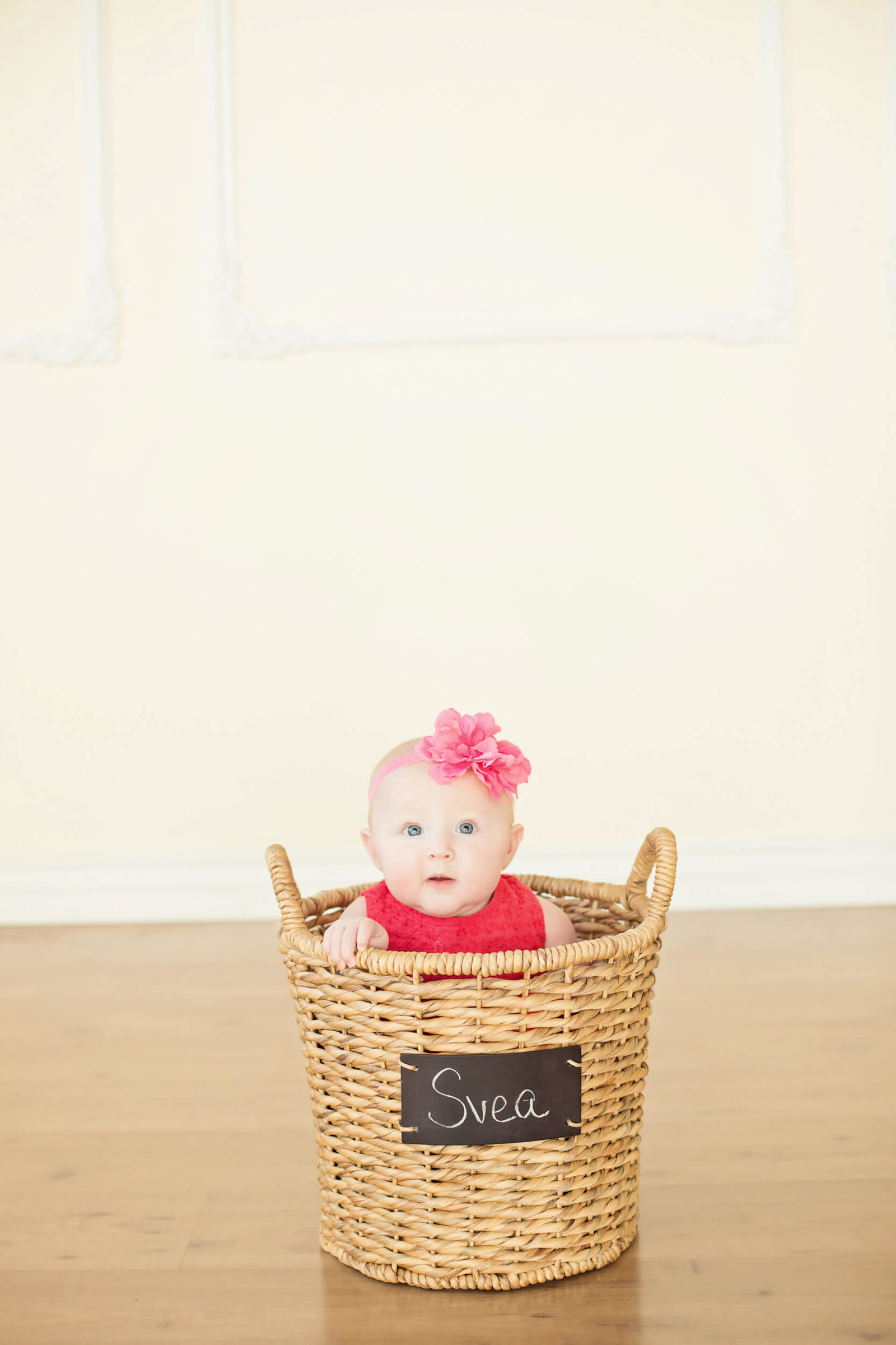 Baby girl in basket photography
