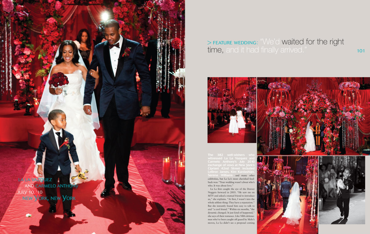 We are so happy to share the wedding of La La Vazquez and Carmelo Anthony at Cipriani's on 42nd Street, in NYC in Grace Ormonde Wedding Style Magazine Spring/Summer 2011 issue. This was another over-the-top wedding by Party Planner, Mindy Weiss and designed by Ed Libby Events did the most amazing job with the decor. La La Vazquez and Carmelo Anthony's wedding was featured on a VH1 series and the show is called Full Court Wedding. Click here for a list of vendors.