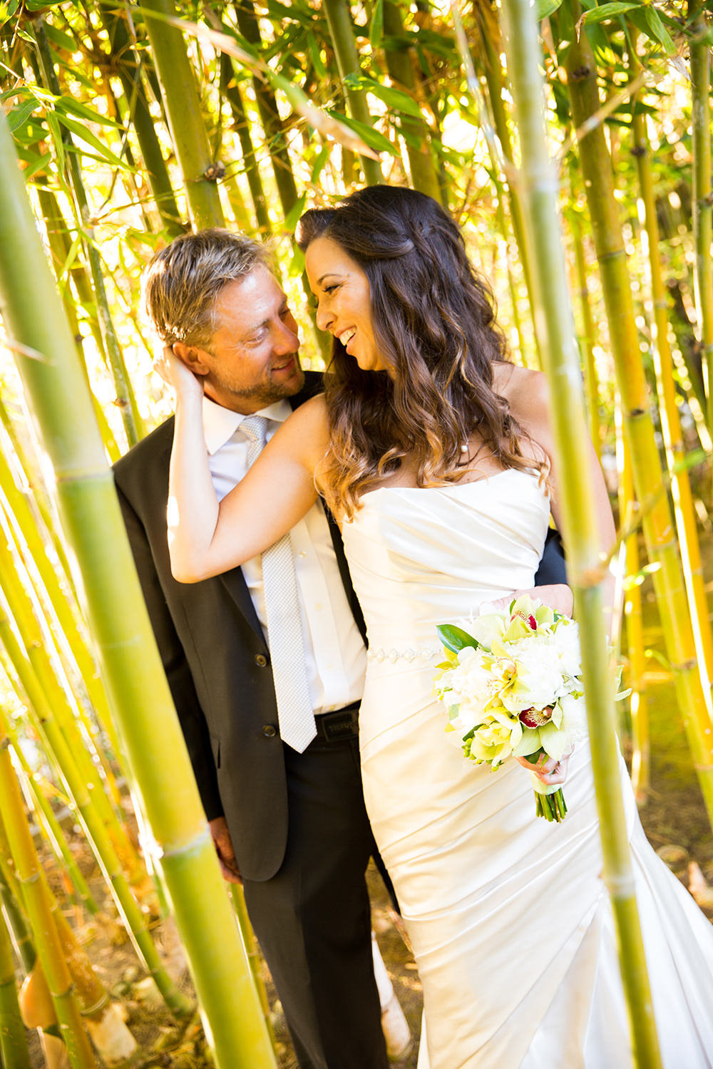 bride and groom in bamboo field