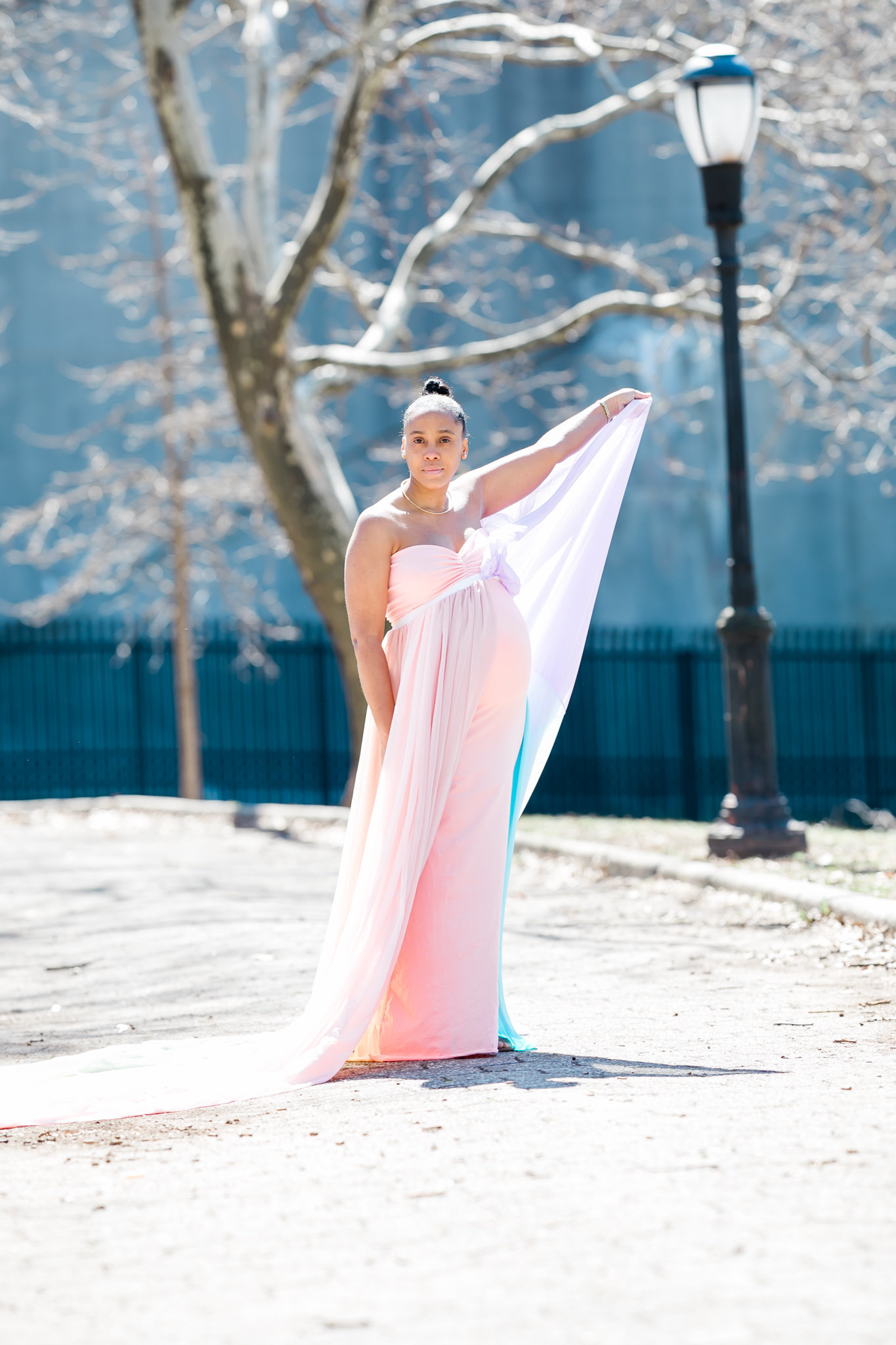 Dreamcatcher Rose Studios - maternity - brooklyn ny - holding dress high