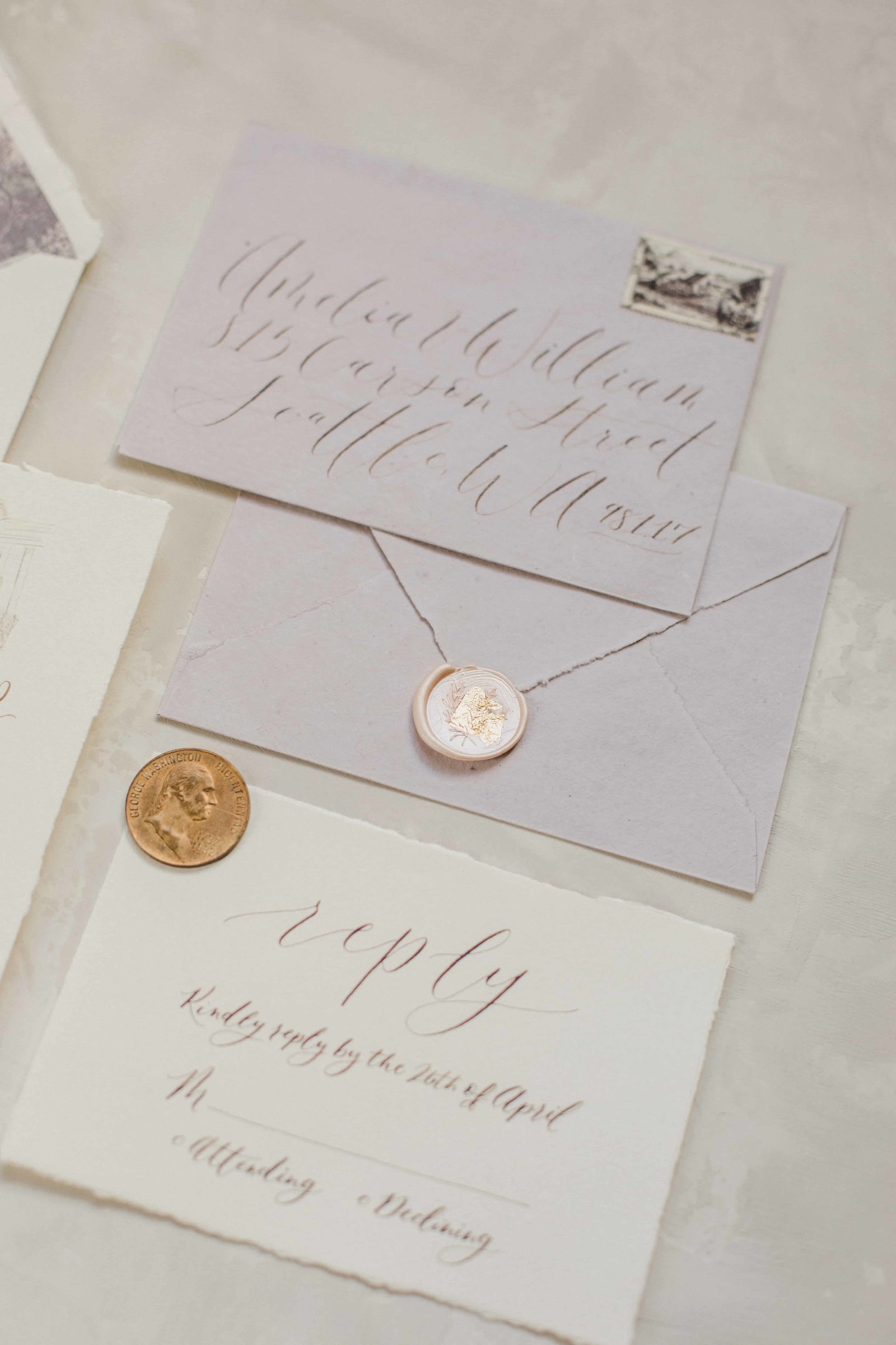 seattle calligraphy wedding invitations wax seals-min