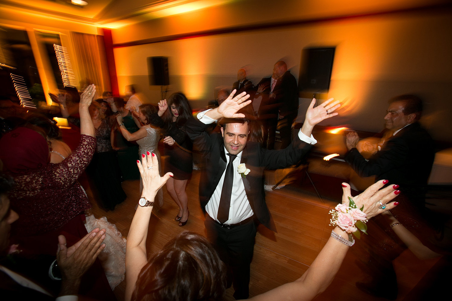 Dance party at a wedding reception