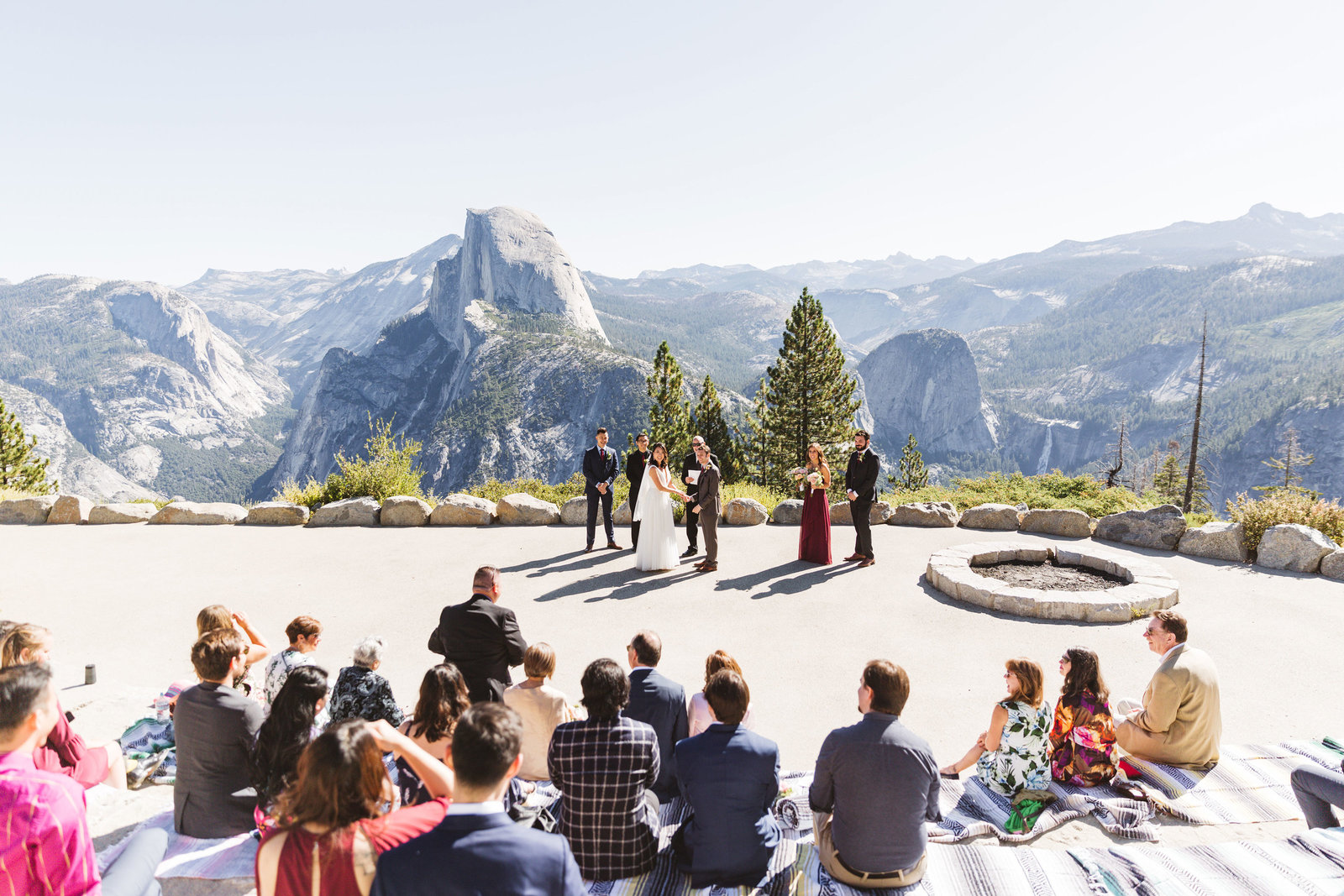 epic glacier point wedding shot from top of amphitheater