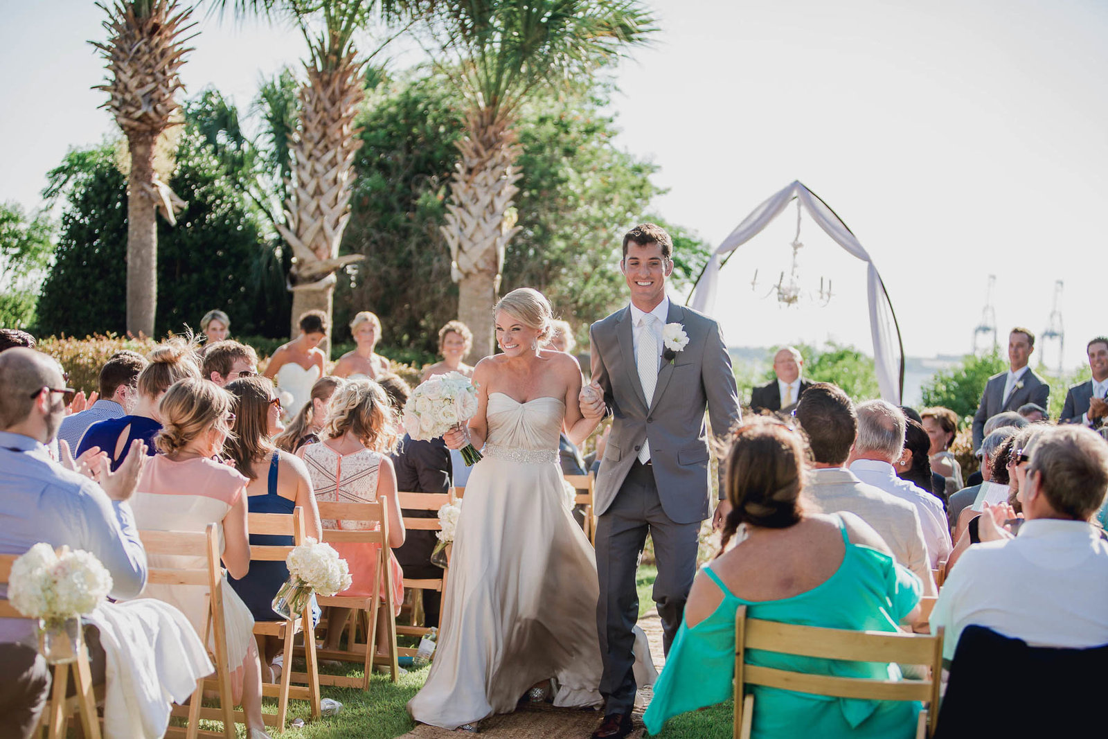 Bride and groom walk down the aisle, Harborside East, Mt Pleasant, South Carolina
