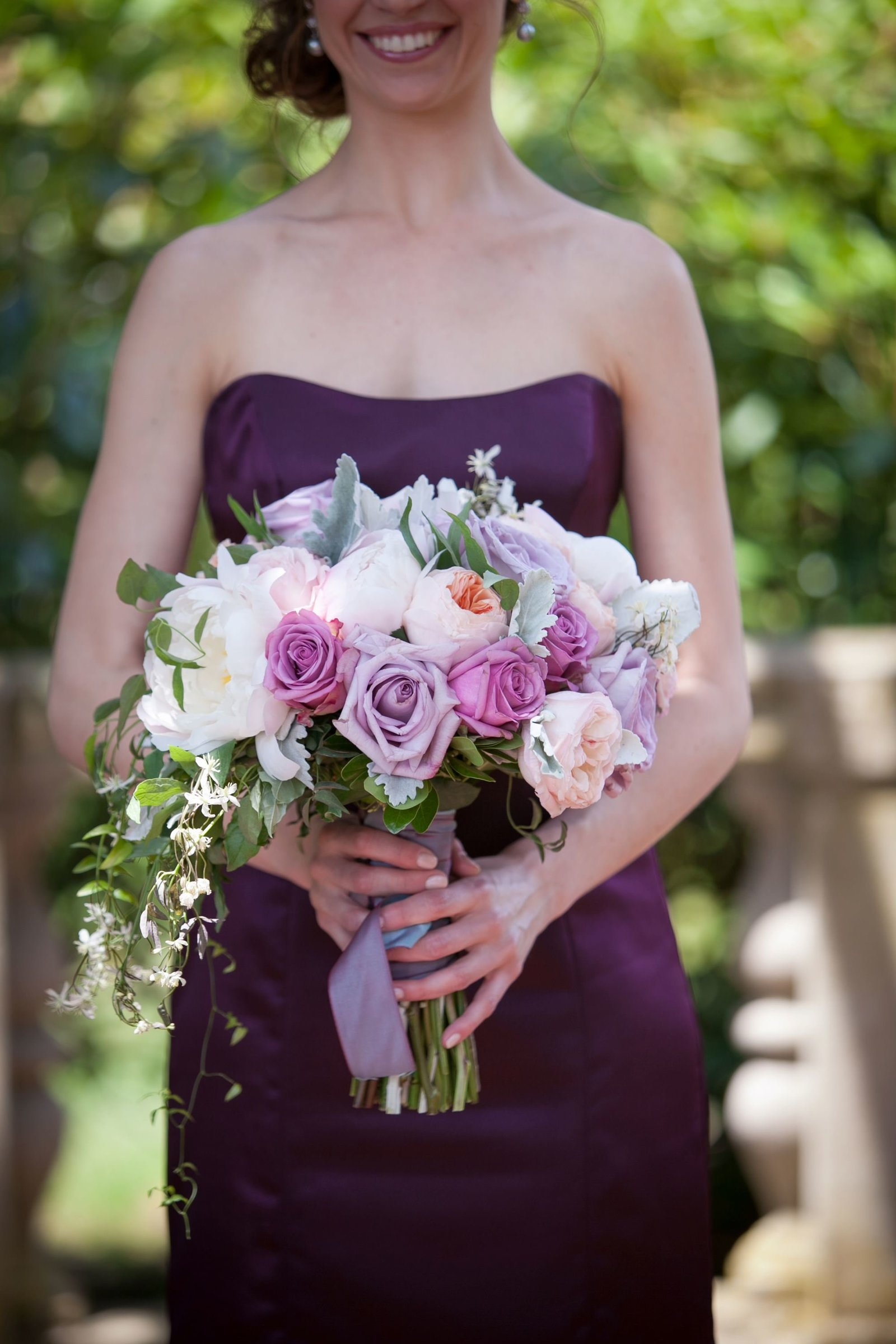 Blush, purple and ivory bridesmaid bouquet at The Branford House in Groton, CT